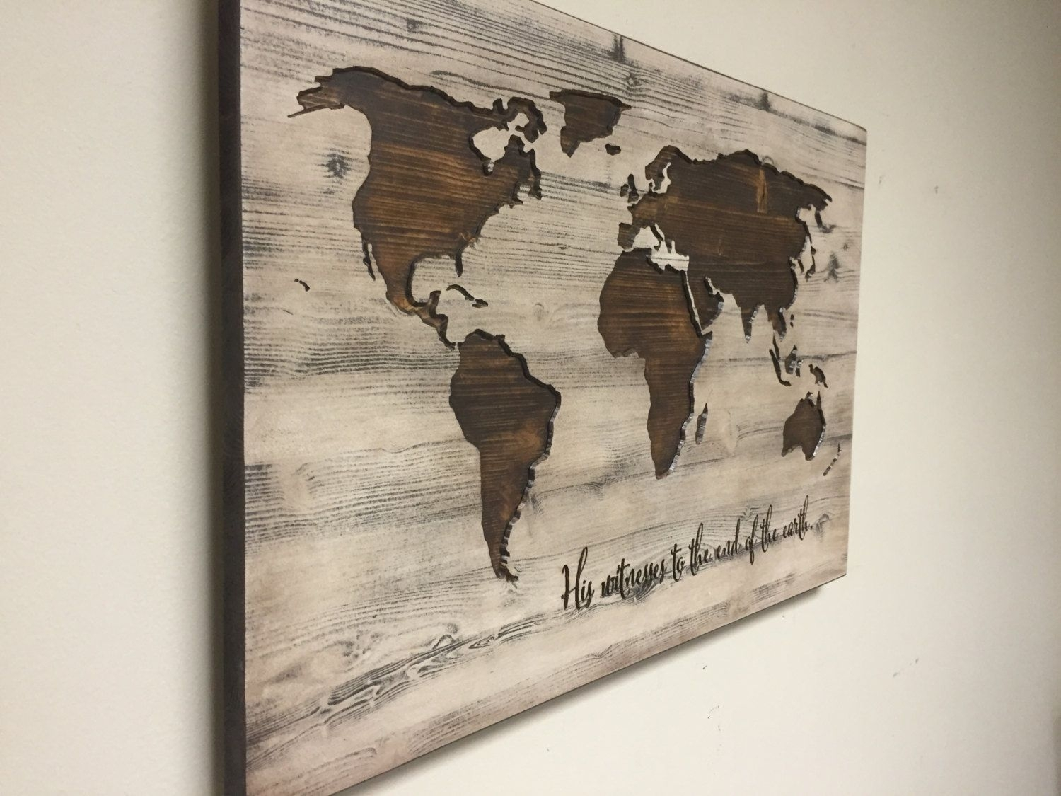 World Map Wall Art, Spiritual, Vintage Carved Wood Map, His Witness Throughout Best And Newest Wall Art World Map (View 17 of 20)