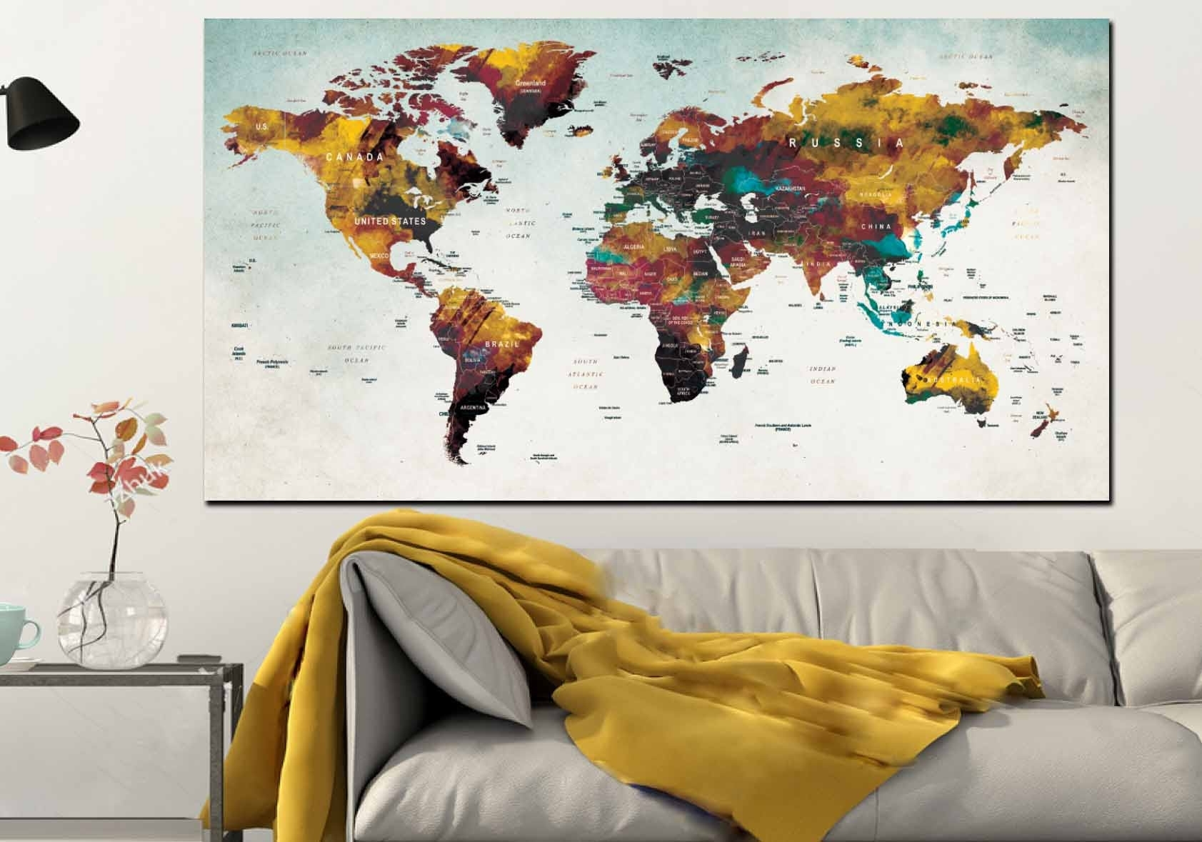 World Map Wall Art,large World Map,push Pin Map,travel Map,large Regarding Most Recent Wall Art Map Of World (View 11 of 20)