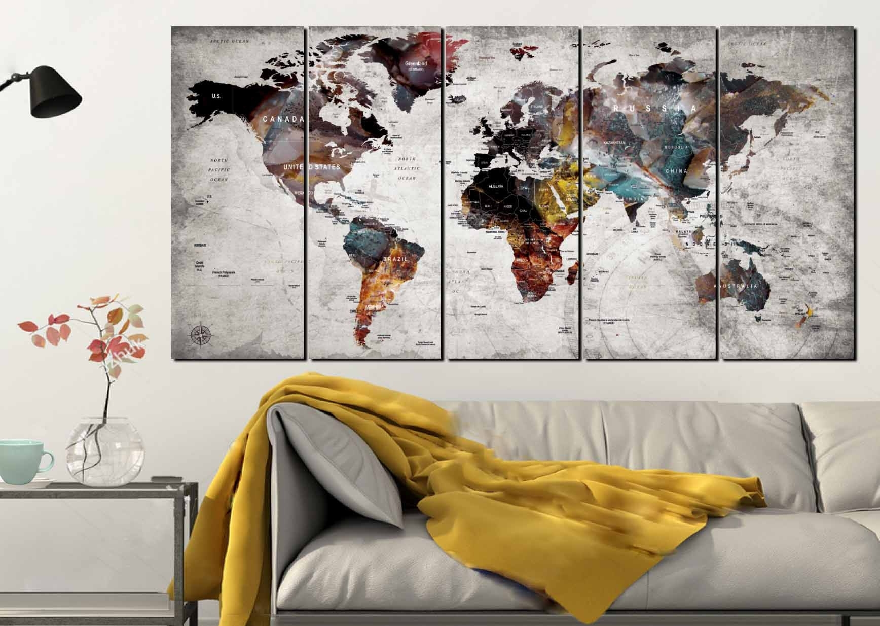 World Map Wall Art,world Map Canvas Art,large World Map,world Map 5 With 2017 Map Of The World Wall Art (View 18 of 20)