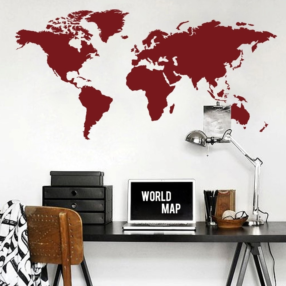 World Map Wall Decal The Whole World Atlas Vinyl Wall Art Sticker Pertaining To 2018 Wall Art Stickers World Map (Gallery 6 of 20)