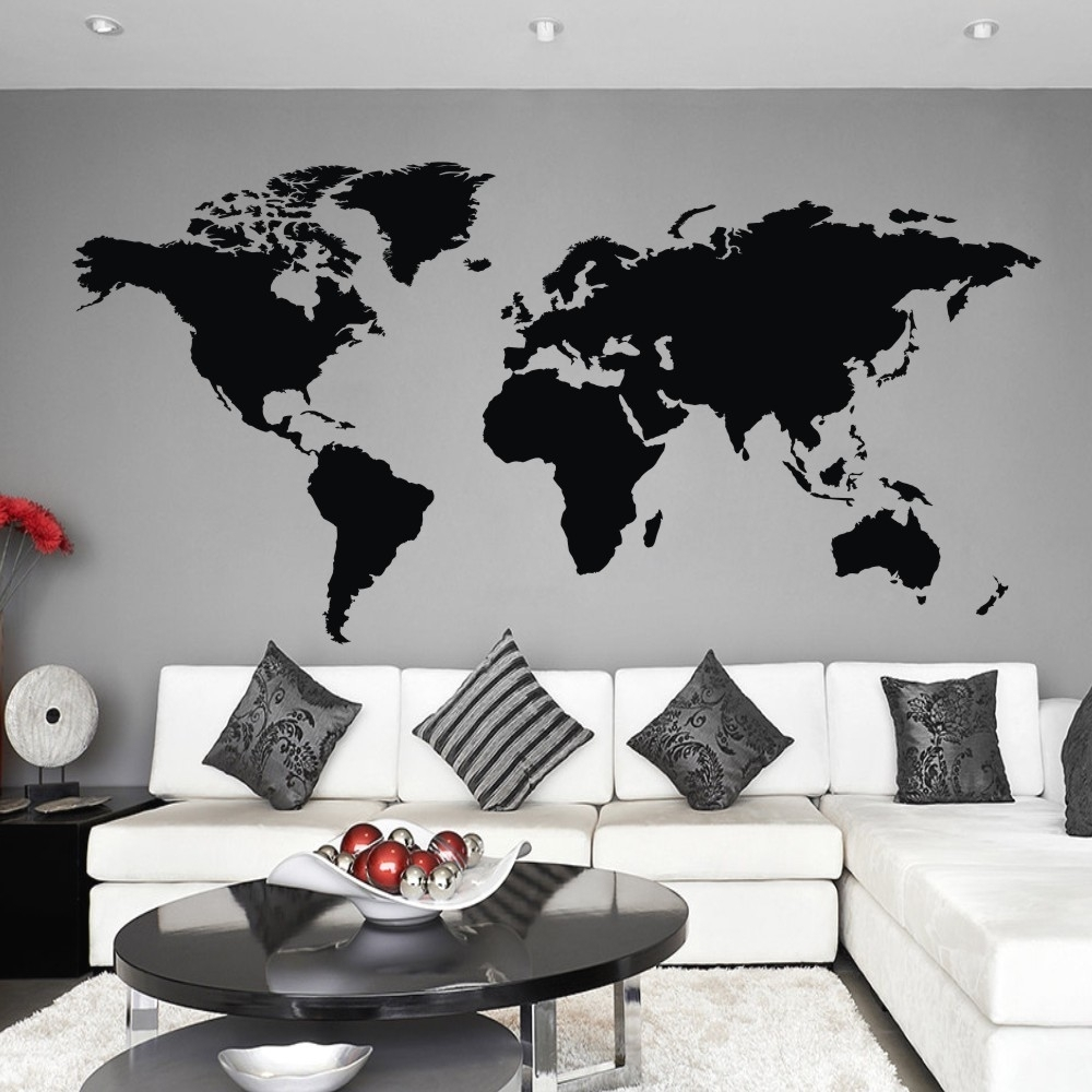 World Map Wall Decal The Whole World Atlas Vinyl Wall Art Sticker Regarding Most Popular Vinyl Wall Art World Map (Gallery 6 of 20)