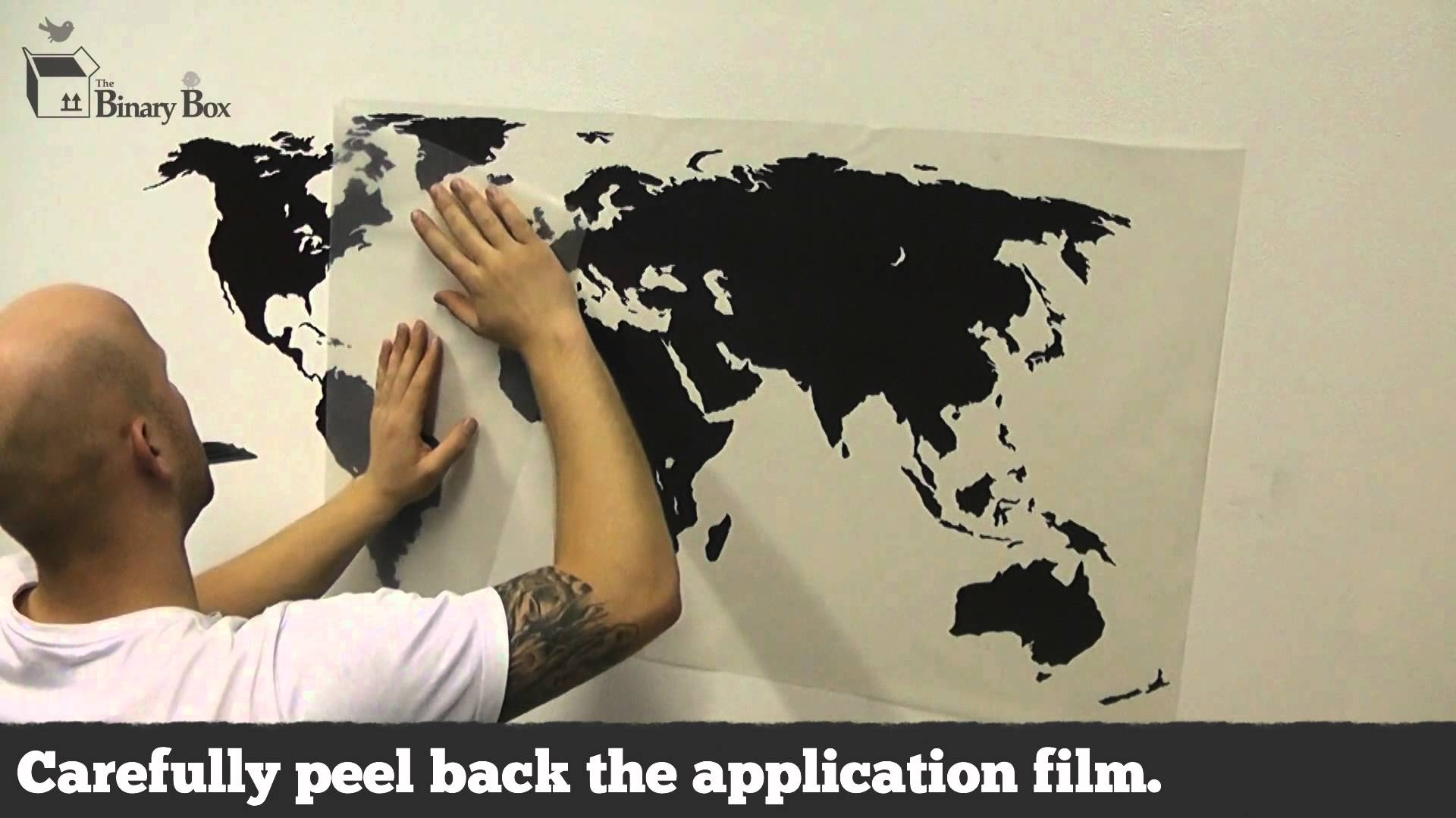 World Map Wall Sticker Application – The Binary Box – Youtube In Best And Newest Vinyl Wall Art World Map (View 17 of 20)