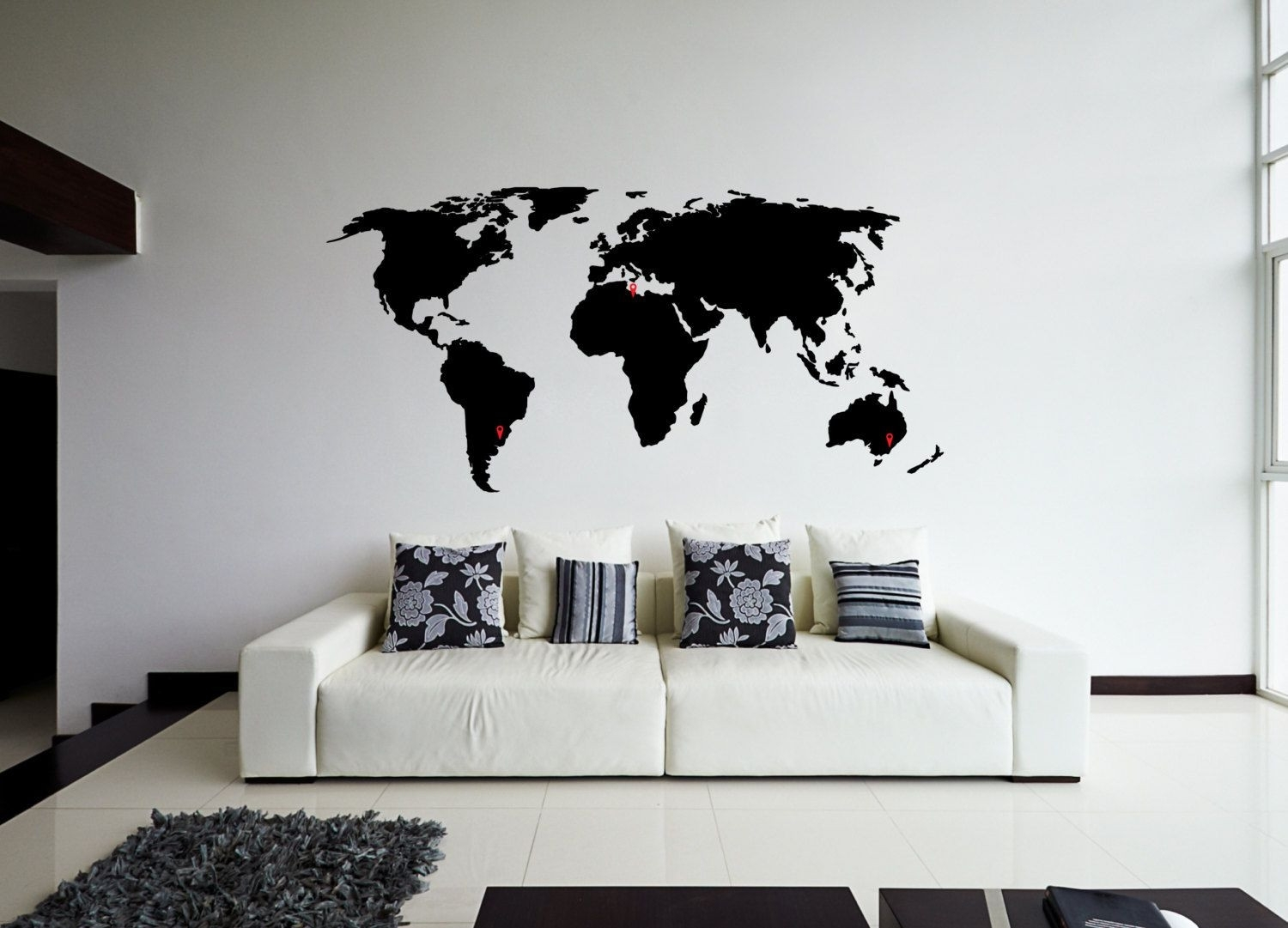 World Map Wall Sticker Design Wall Travel Decor Design Of Black Wall With Regard To 2018 Wall Art Stickers World Map (View 18 of 20)