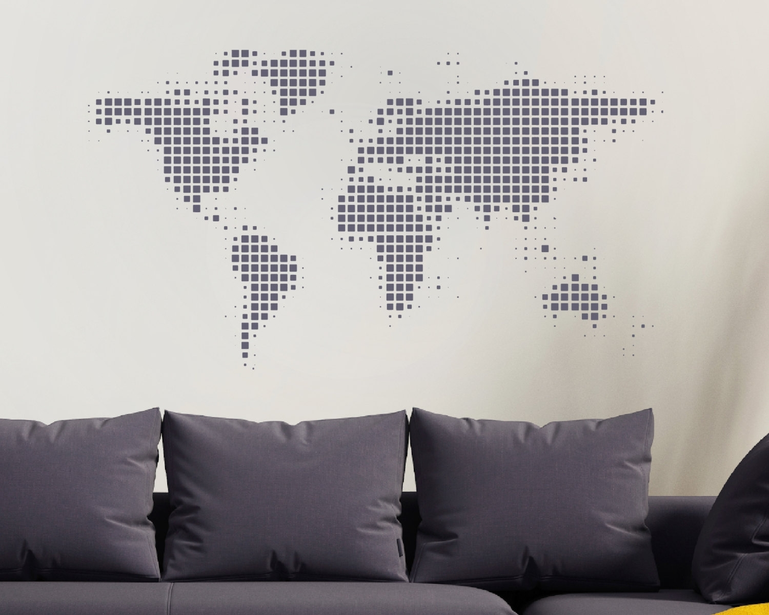 World Map Wall Sticker – World Wall Sticker – World Map – World With Latest Wall Art Map Of World (Gallery 5 of 20)
