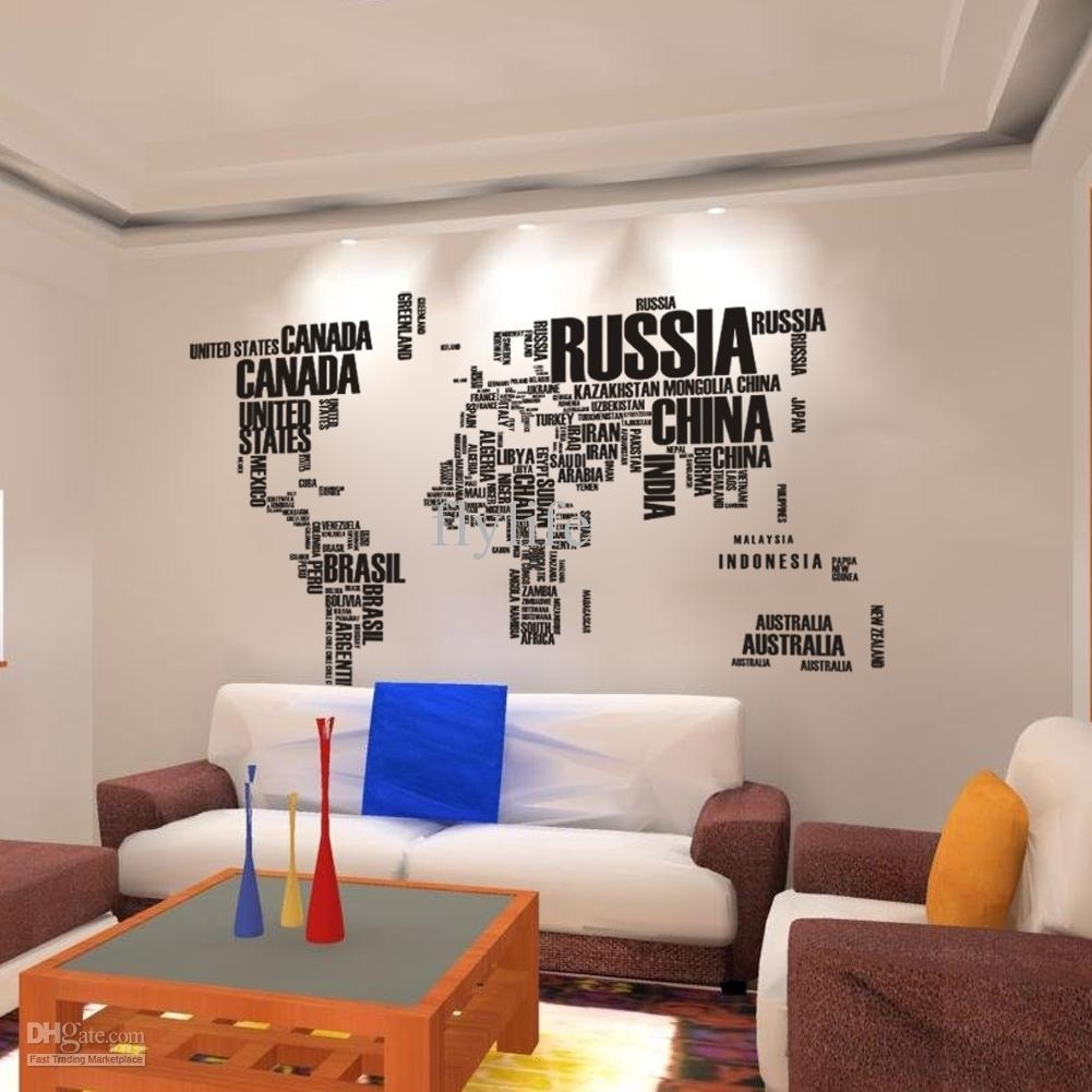 World Map Wall Stickers , Home Art Wall Decor Decals For Living Room Throughout Most Popular World Map For Wall Art (View 13 of 20)