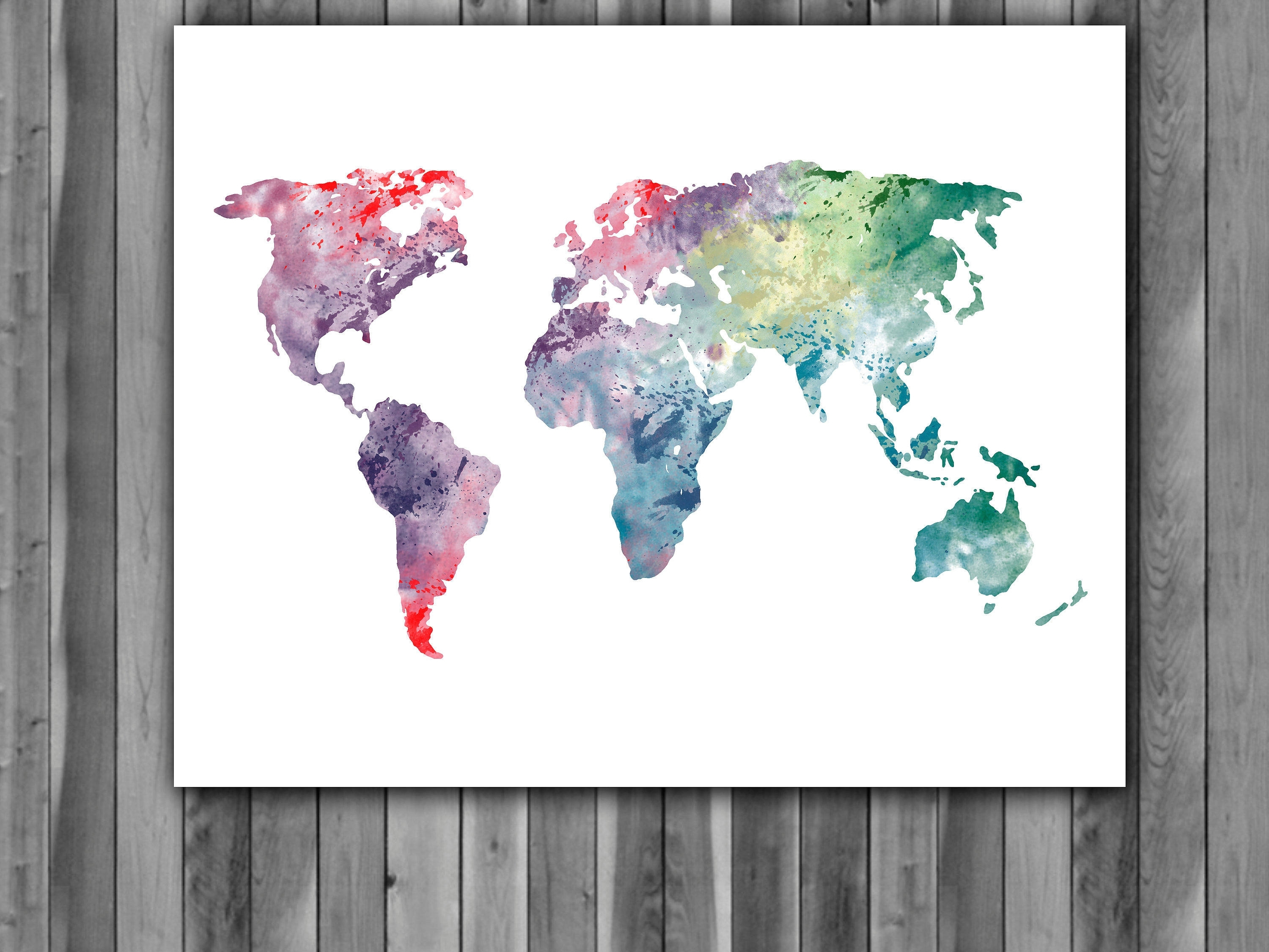 World Map Watercolor Print, World Map Art, World Map Painting, World With Regard To Current Wall Art World Map (View 19 of 20)