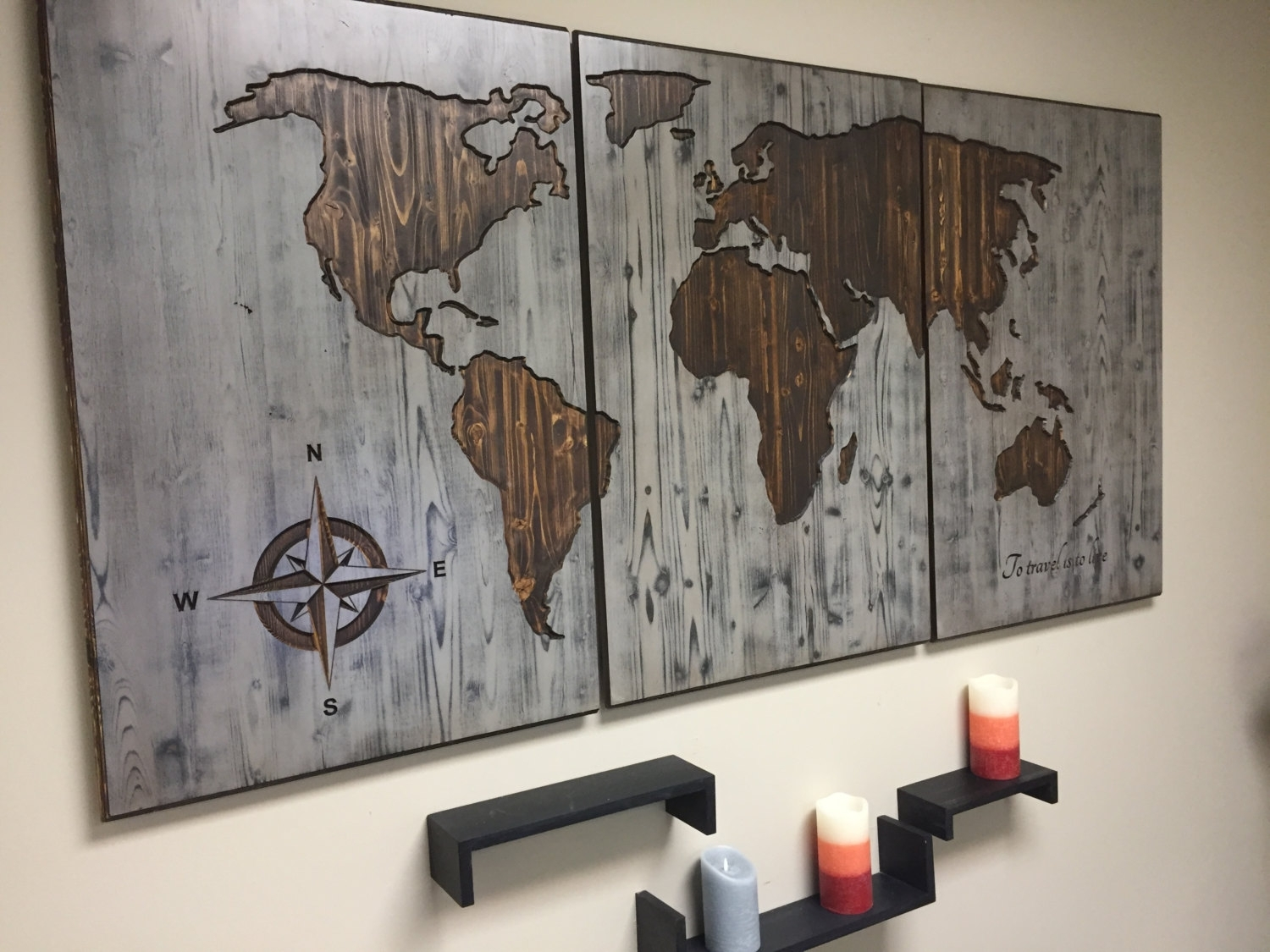 World Map Wood Wall Art Carved Custom Home Decor Wooden With Regard To Most Popular Personalized Wood Wall Art (Gallery 6 of 20)