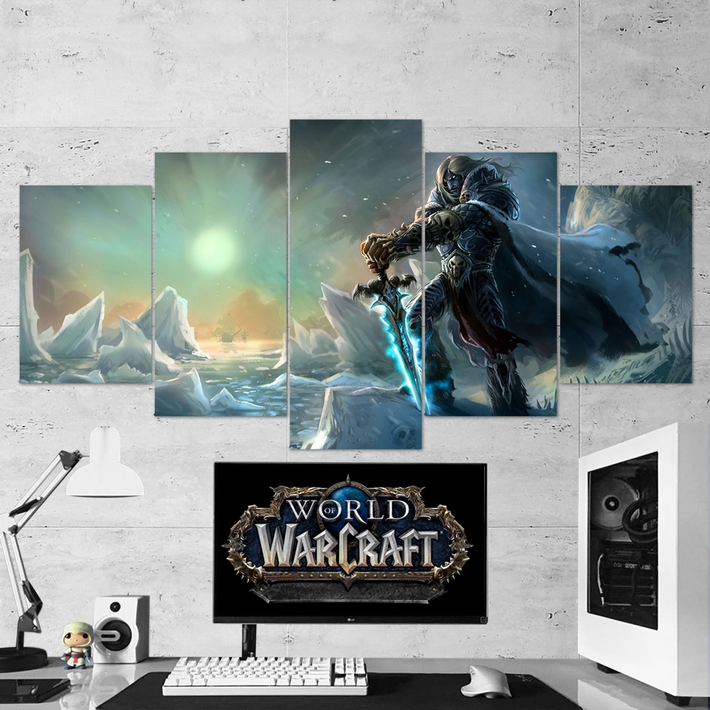 Wow – World Of Warcraft 25 Lich King Artwork 5 Piece Canvas Wall Art Inside Newest 5 Piece Canvas Wall Art (View 8 of 20)
