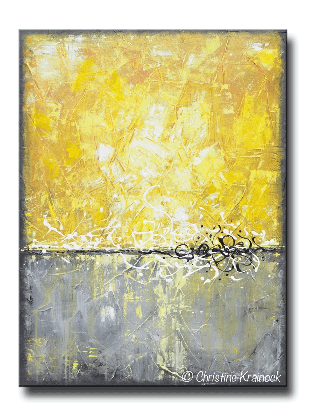 Yellow Canvas Art New Giclee Print Grey Abstract Painting Prints For Most Current Modern Abstract Painting Wall Art (View 7 of 20)