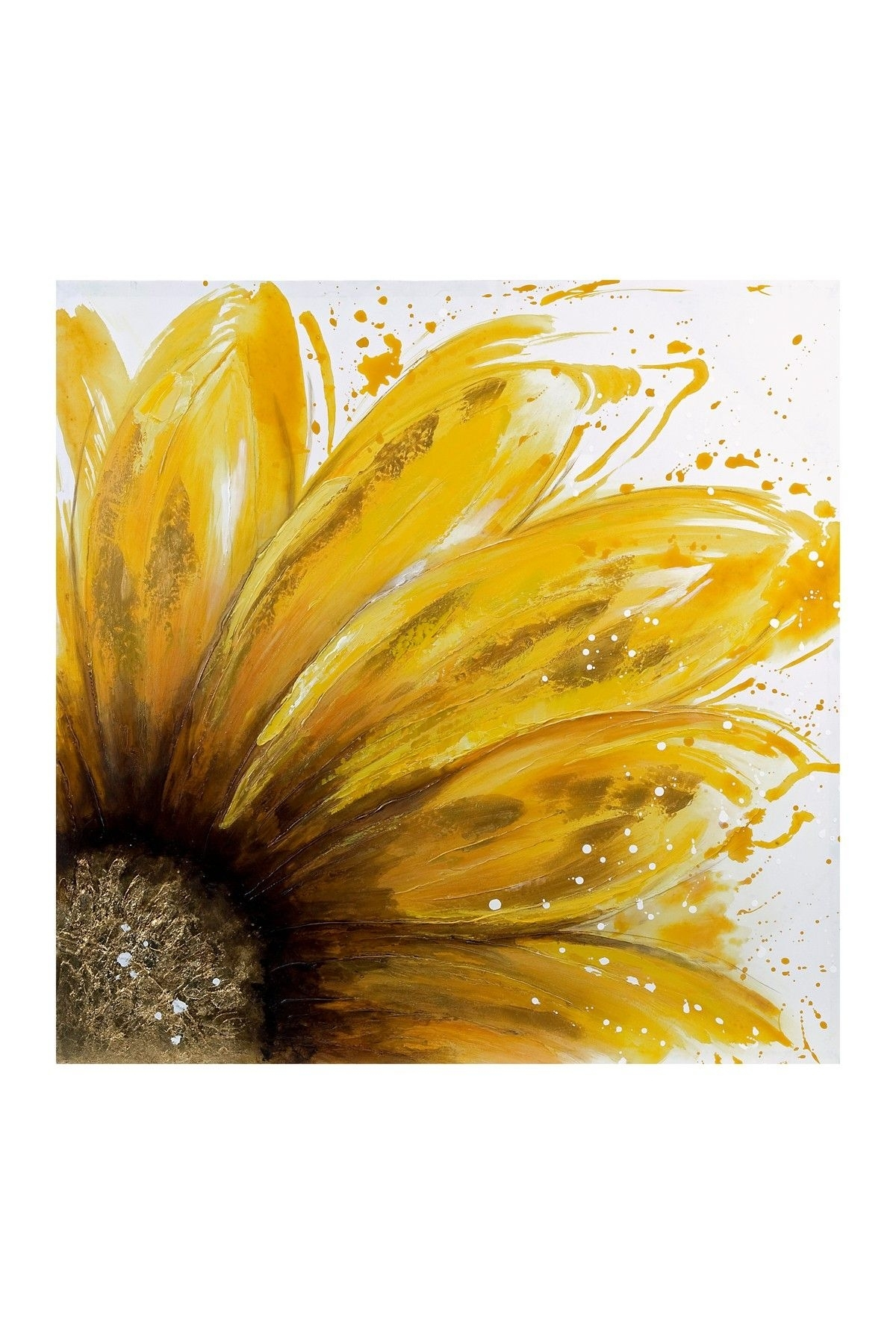 Yellow Daisy Oil Painting Canvas Wall Art On @hautelook | Art Intended For Latest Sunflower Wall Art (View 20 of 20)