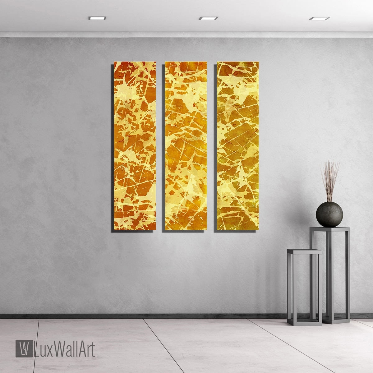 Yellow Gold Large Vertical Thin Panel Metal Abstract Wall Art Throughout Best And Newest Yellow Wall Art (View 9 of 20)