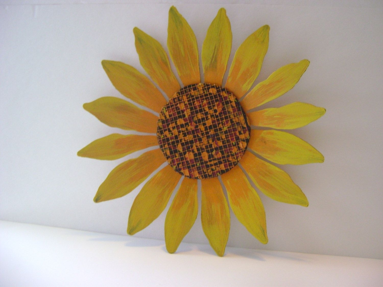 Yellow / Orange Sunflower Wall Art, Sculptured Metal Garden Art Intended For Most Up To Date Sunflower Wall Art (Gallery 6 of 20)