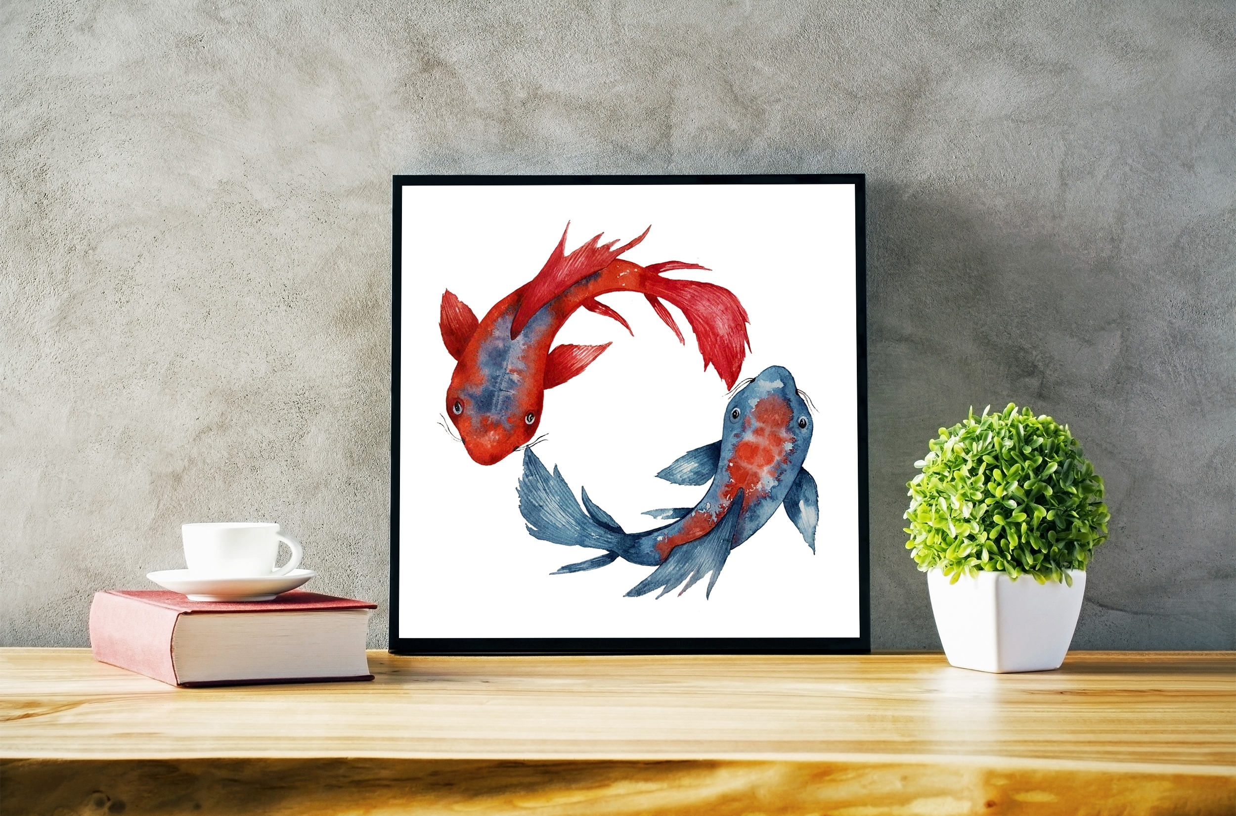 Yin Yang Koi Fish | Framed Poster | Wall Art Decor | Watercolor Throughout Most Up To Date Fish Painting Wall Art (Gallery 9 of 20)
