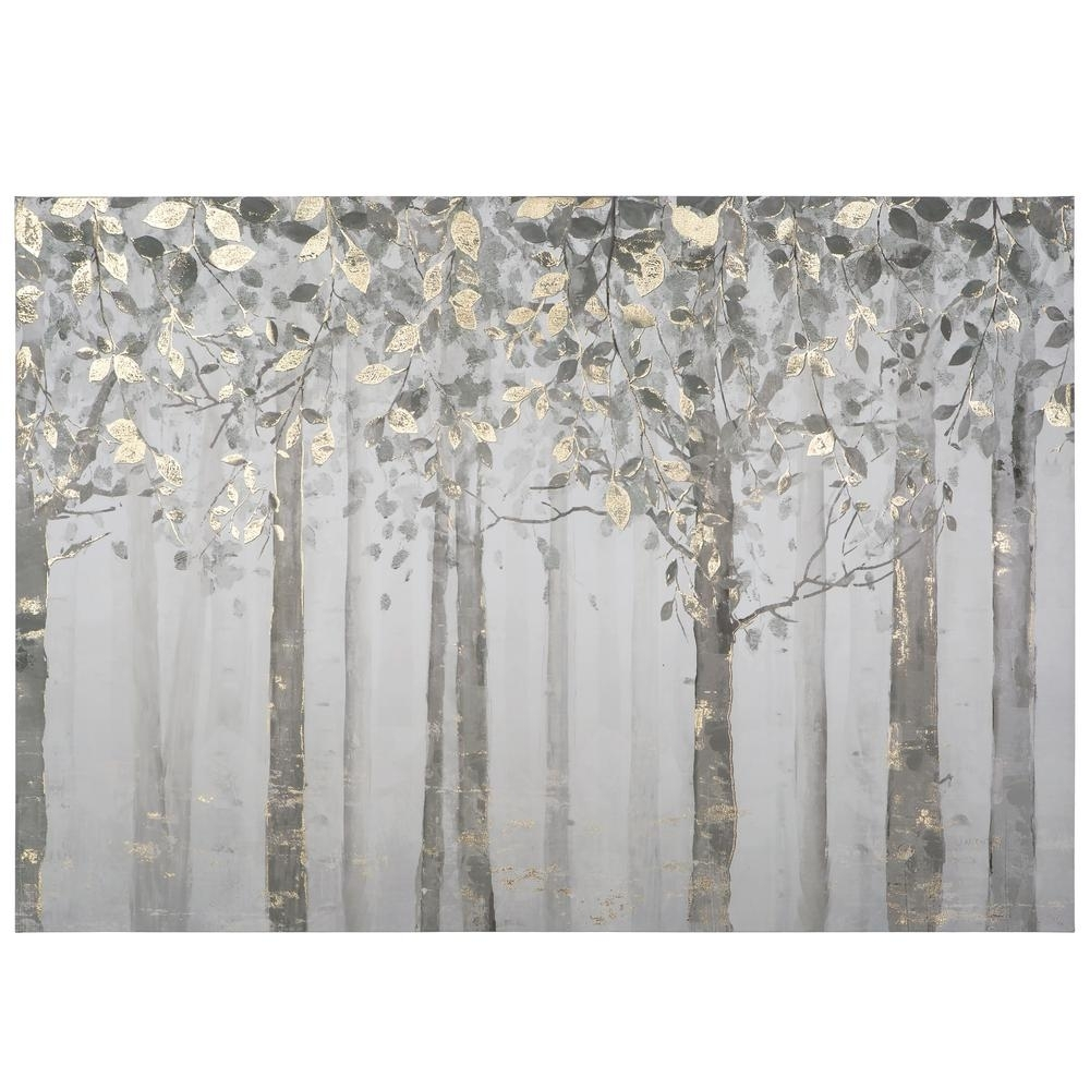 "Yosemite Home Decor 28 In. X 40 In. ""grey And Yellow Trees"" Printed Pertaining To Best And Newest Gray Canvas Wall Art (Gallery 20 of 20)"