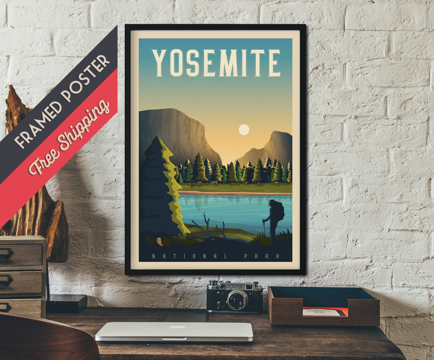Yosemite National Park Print – California Travel Poster, Framed With Most Recent California Wall Art (Gallery 14 of 20)