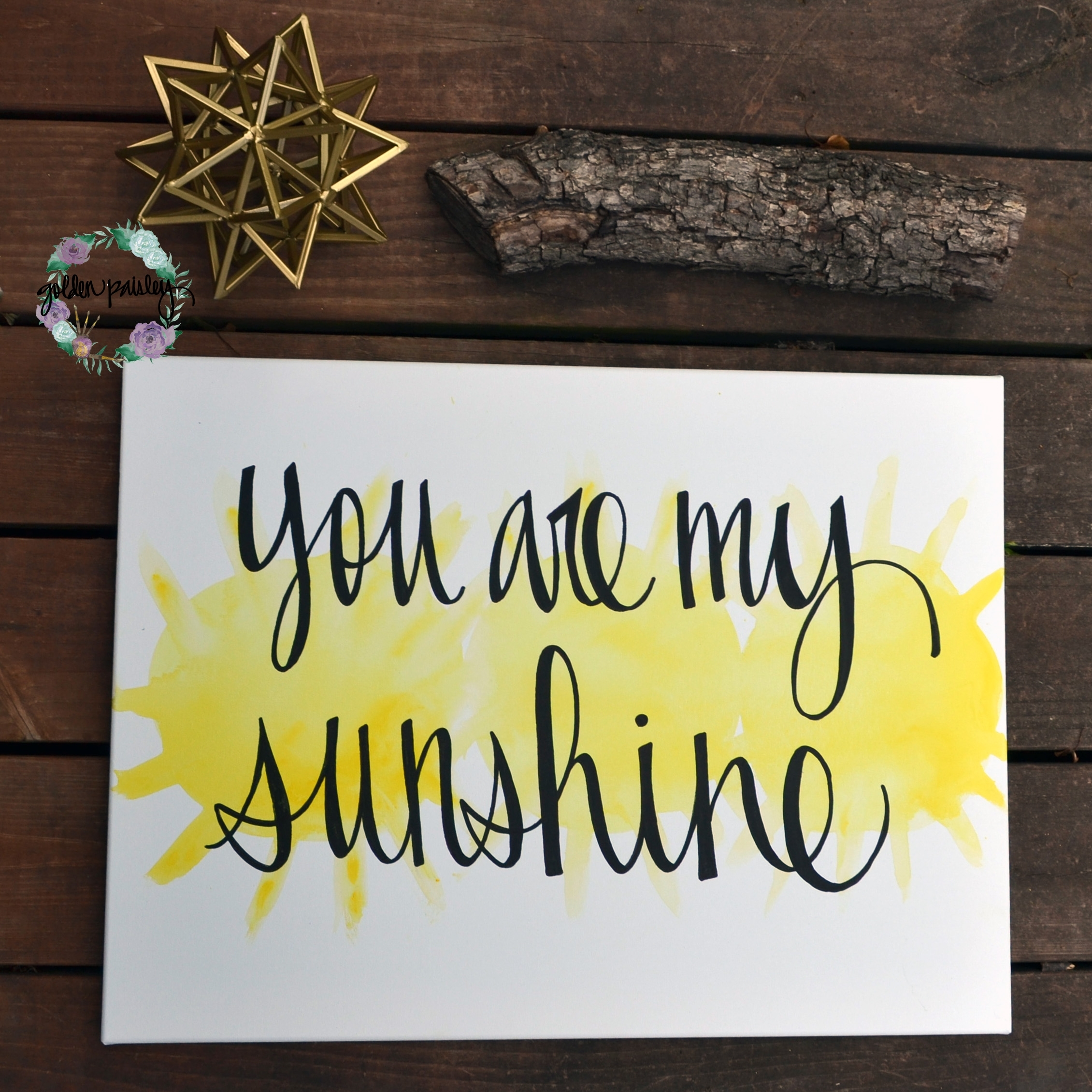 "You Are My Sunshine"" Yellow Watercolor Art For Most Current You Are My Sunshine Wall Art (View 4 of 15)"