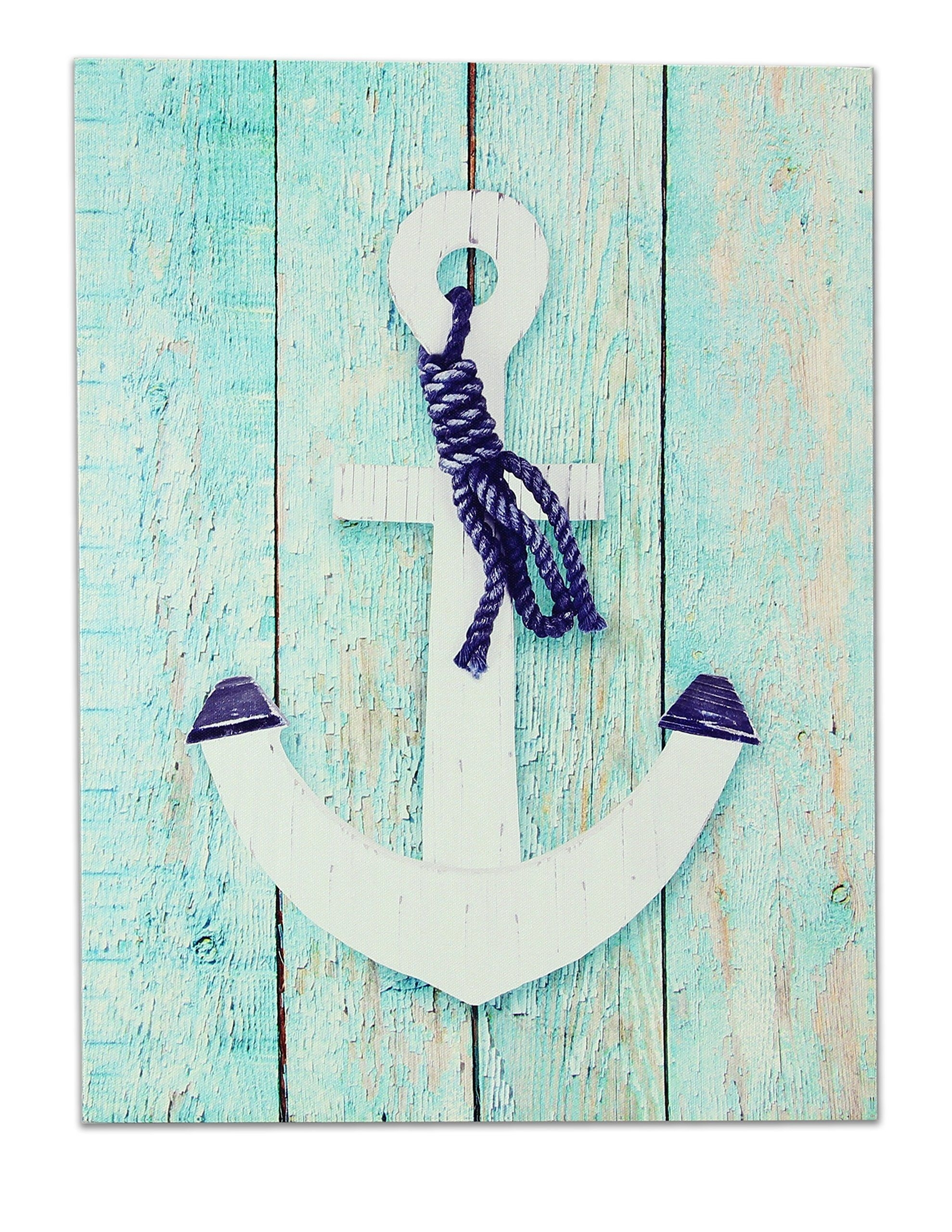 "Young's 16699 11.75"" X 0.75"" X 15.75"" Canvas Anchor Wall Art Pertaining To Best And Newest Anchor Wall Art (Gallery 19 of 20)"