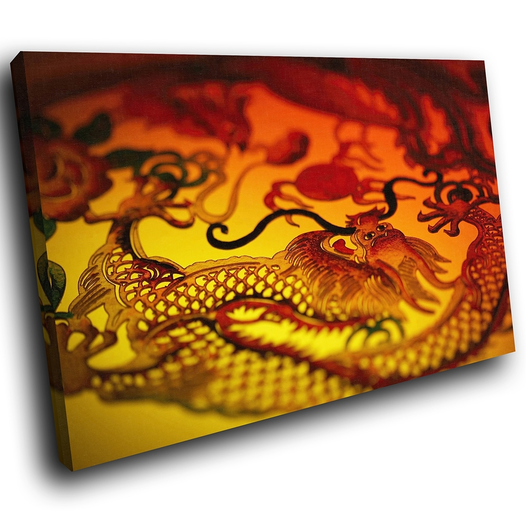 Zab192 Red Chinese Dragon Yellow Modern Canvas Abstract Wall Art With Regard To Recent Chinese Wall Art (View 20 of 20)