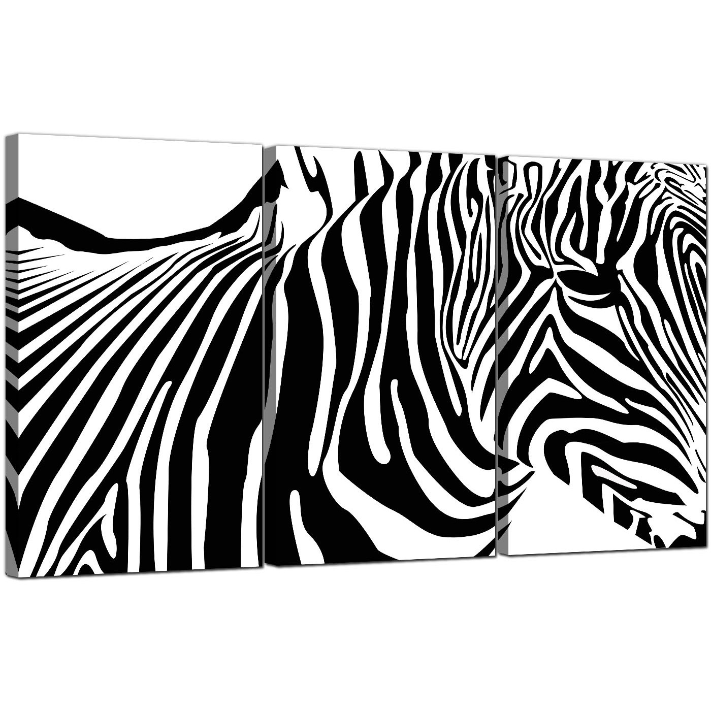 Zebra Canvas Pictures 3 Panel For Your Dining Room Inside Most Popular Zebra Canvas Wall Art (View 5 of 20)
