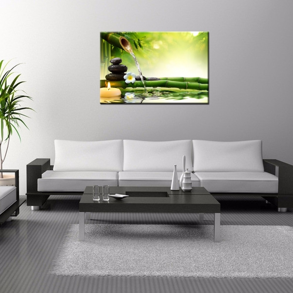 Zen Basalt Stones Wall Art/green Spa Bamboo Picture Prints/wall Within Best And Newest Bamboo Wall Art (View 18 of 20)