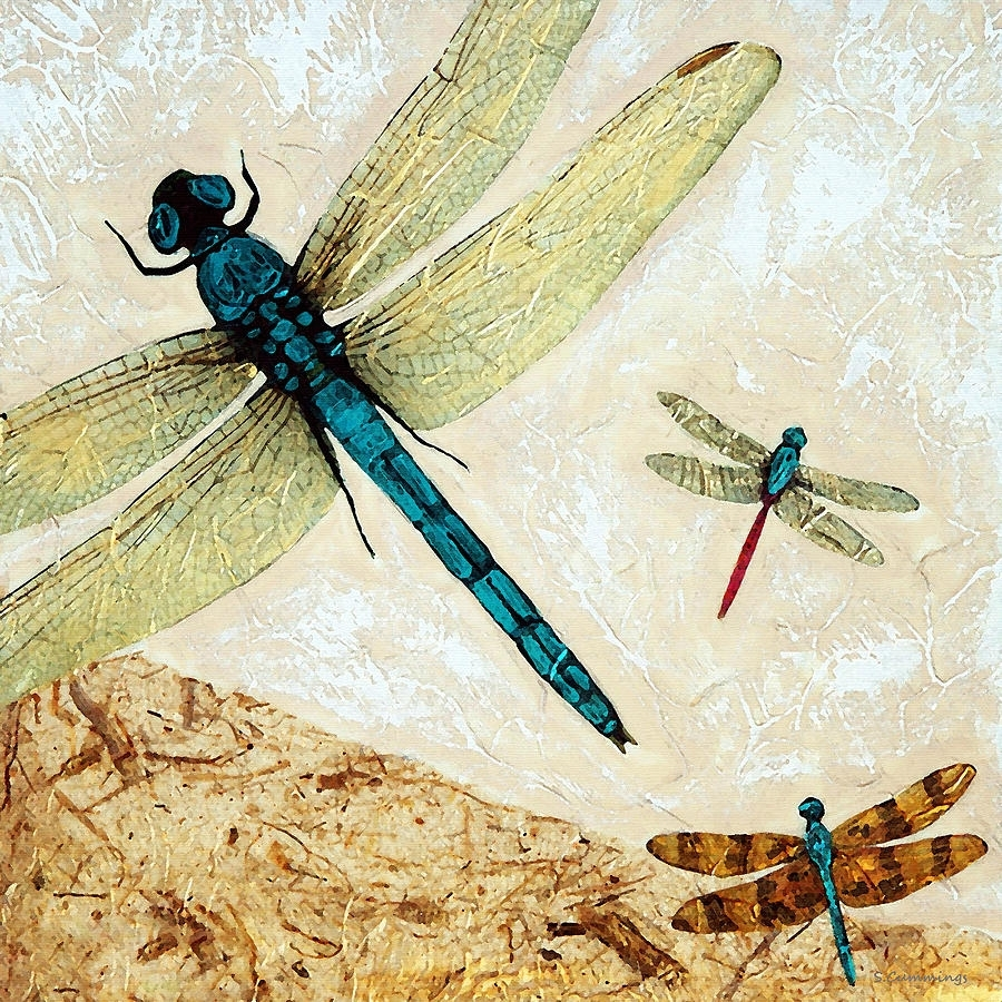 Zen Flight – Dragonfly Artsharon Cummings Paintingsharon With Best And Newest Dragonfly Painting Wall Art (View 20 of 20)