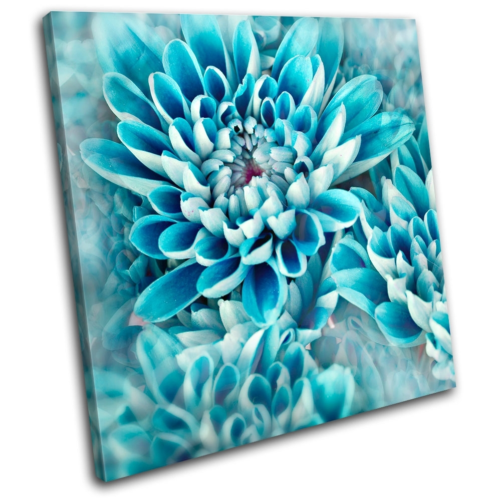 Zinnia Blue Flower Floral Single Canvas Wall Art Picture Print Va | Ebay In Recent Flower Wall Art (Gallery 11 of 20)