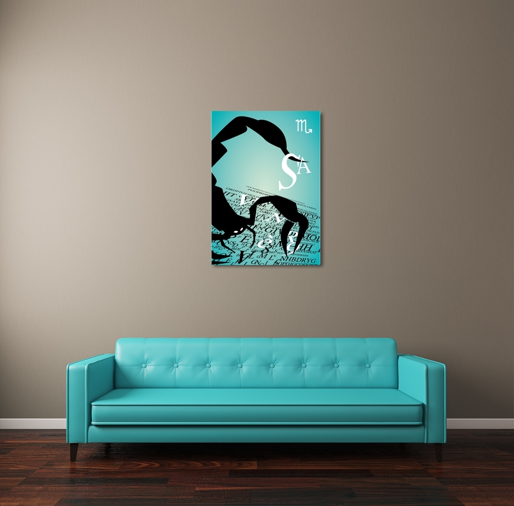 Zodiac Sign Scorpio Canvas Wall Art With Recent Long Canvas Wall Art (View 20 of 20)