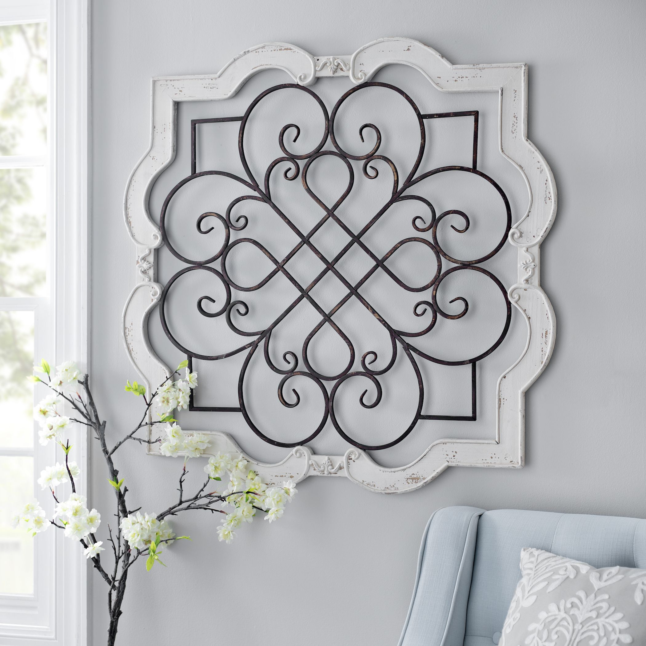 1 Piece Ortie Panel Wall Decor With Fashionable Shabby Chic Farmhouse Cream Wood Iron Scroll Wall Door Sculpture (View 1 of 20)