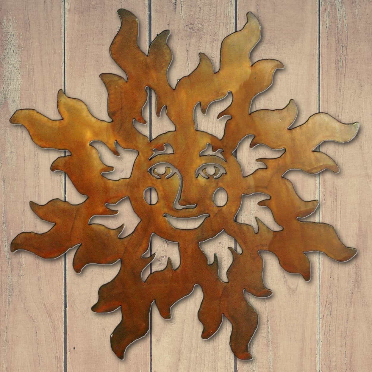 18In Happy Face Sun 3D Metal Wall Art – Rust – 165222 For Well Known Choose Happiness 3D Cursive Metal Wall Decor (Gallery 19 of 20)
