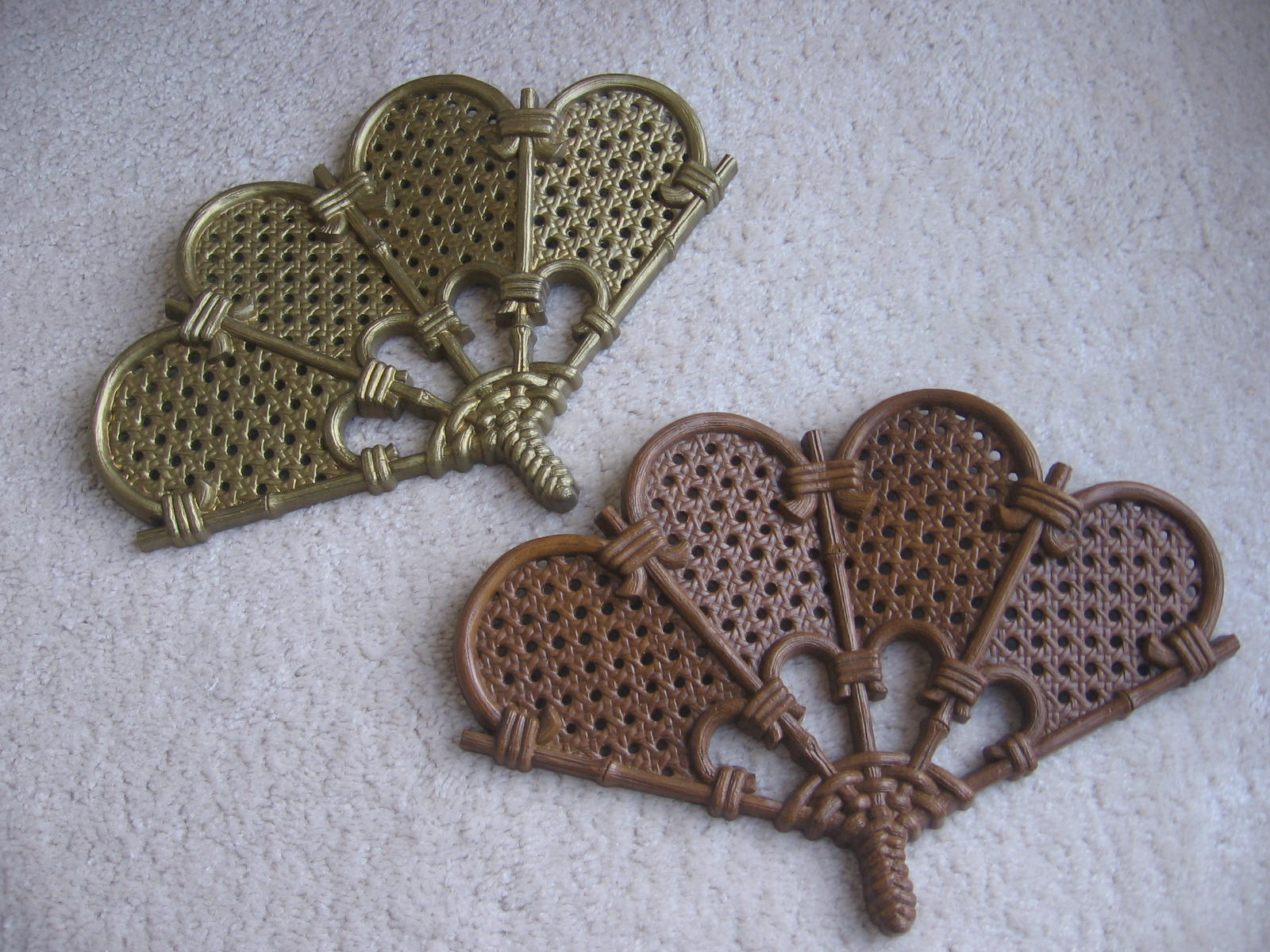 2 Piece Heart Shaped Fan Wall Decor Sets Pertaining To Famous Brown Burwood Wall Fans / Lot Of 2 / Gold And Brown Fans / (View 1 of 20)