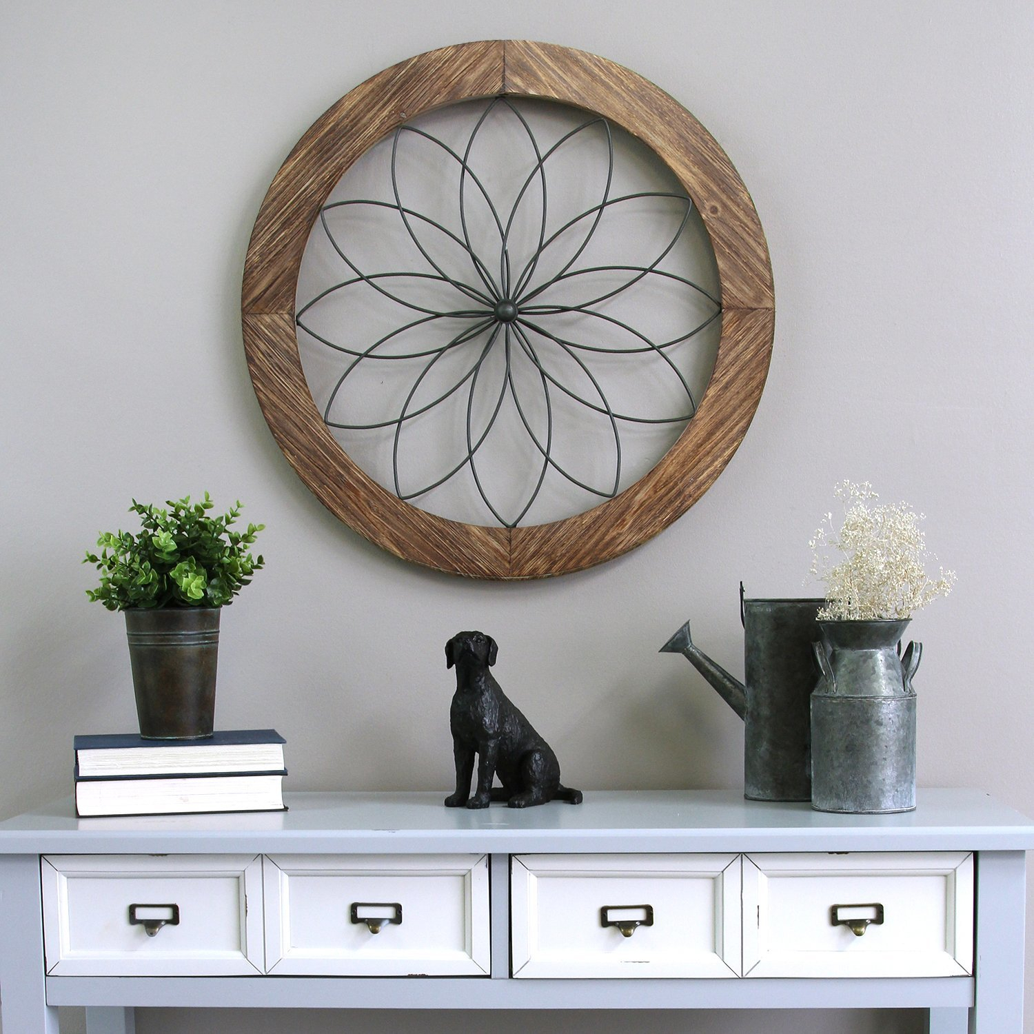 2019 August Grove Round Medallion Wood And Metal Wall Décor & Reviews Within 3 Piece Wash, Brush, Comb Wall Decor Sets (Set Of 3) (View 2 of 20)