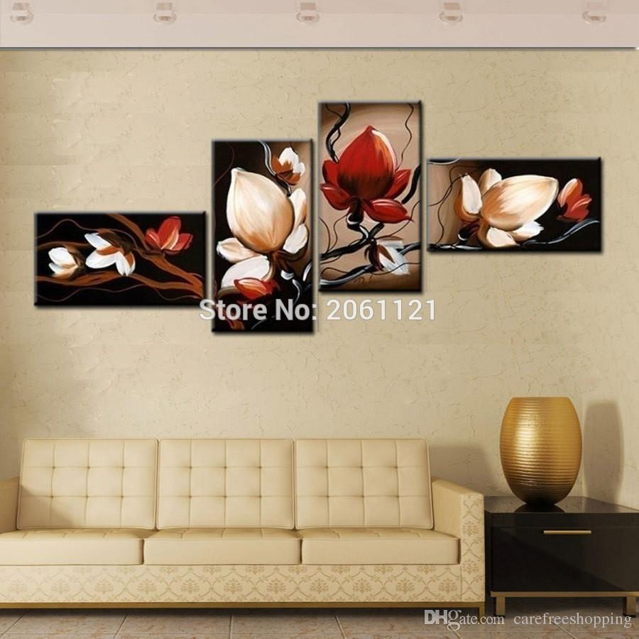 2019 Best Sale Dark Red Flower Art Canvas Painting Oil Cheap Wall Throughout Fashionable 4 Piece Wall Decor Sets (Gallery 15 of 20)