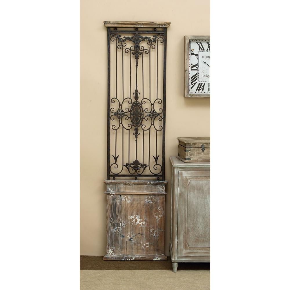 2019 Brown Wood And Metal Wall Decor Pertaining To Iron Wall Art Decor Panel Indoor Wrought Iron Wood Wall Gate Light (View 17 of 20)