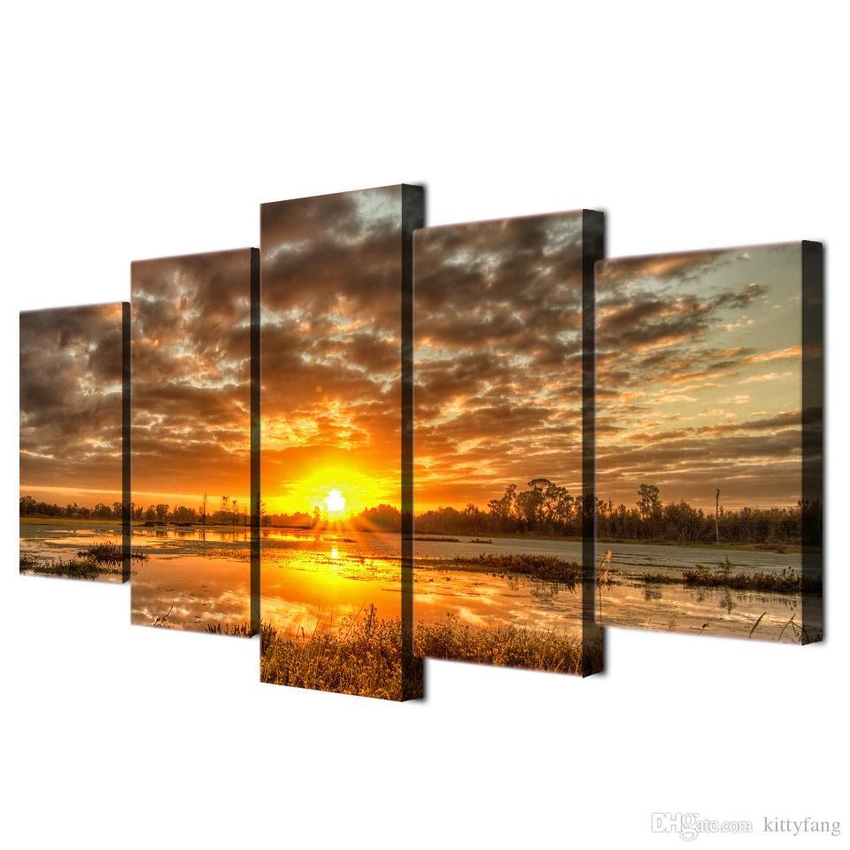 2019 Framed Hd Printed Sunrise Morning Lake Landscape Wall Art Regarding 2020 4 Piece Metal Wall Decor Sets (View 1 of 20)