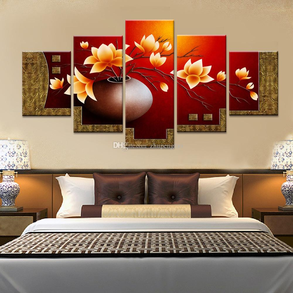 2019 Magnolia Flower Vase Canvas Print Oil Painting Wall Pictures Throughout Popular 3 Piece Magnolia Brown Panel Wall Decor Sets (View 15 of 20)
