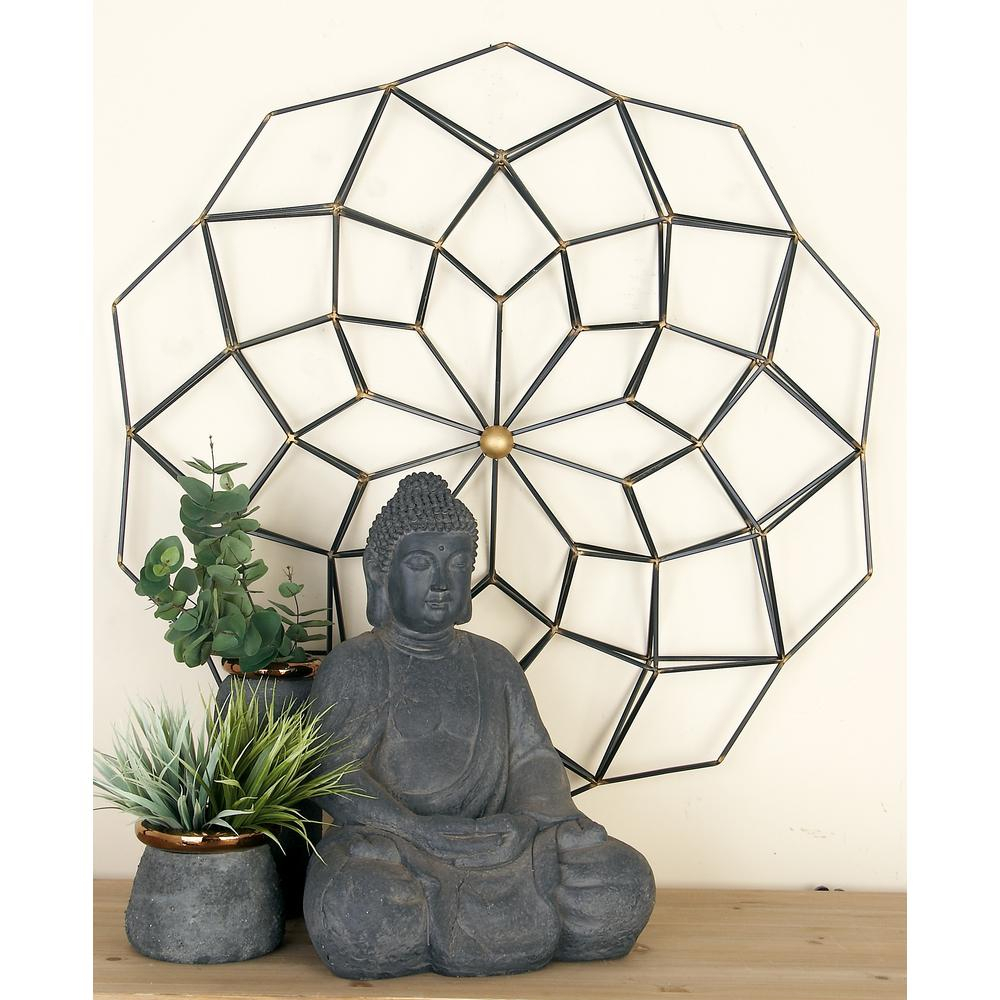 2019 Metal Wall Decor By Cosmoliving With Cosmolivingcosmopolitan Modern Black And Gold Iron Geometric (View 3 of 20)