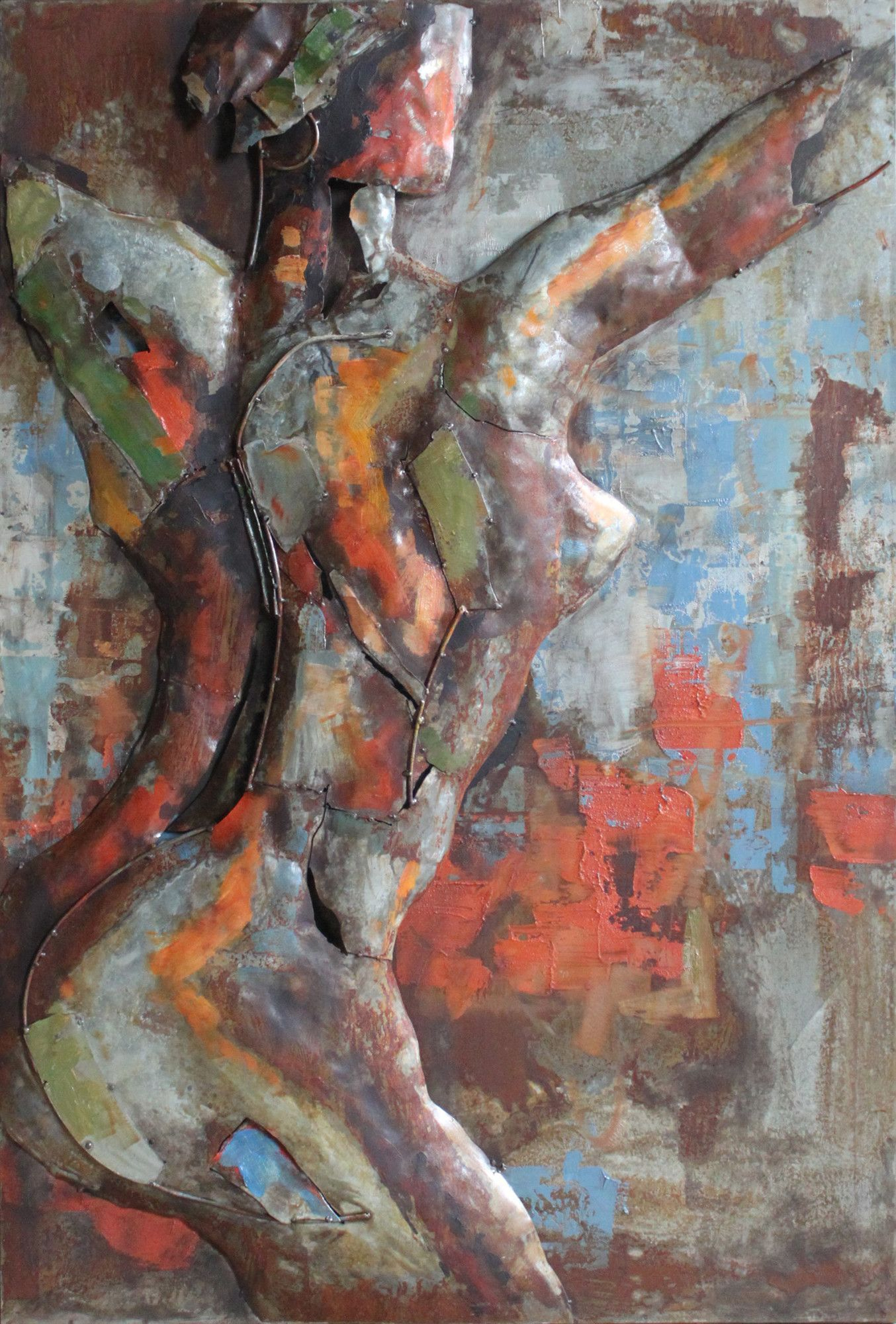"""2019 Nude Study 2"""" Mixed Media Iron Hand Painted Dimensional Wall Décor Throughout Mixed Media Iron Hand Painted Dimensional Wall Decor (View 1 of 20)"""