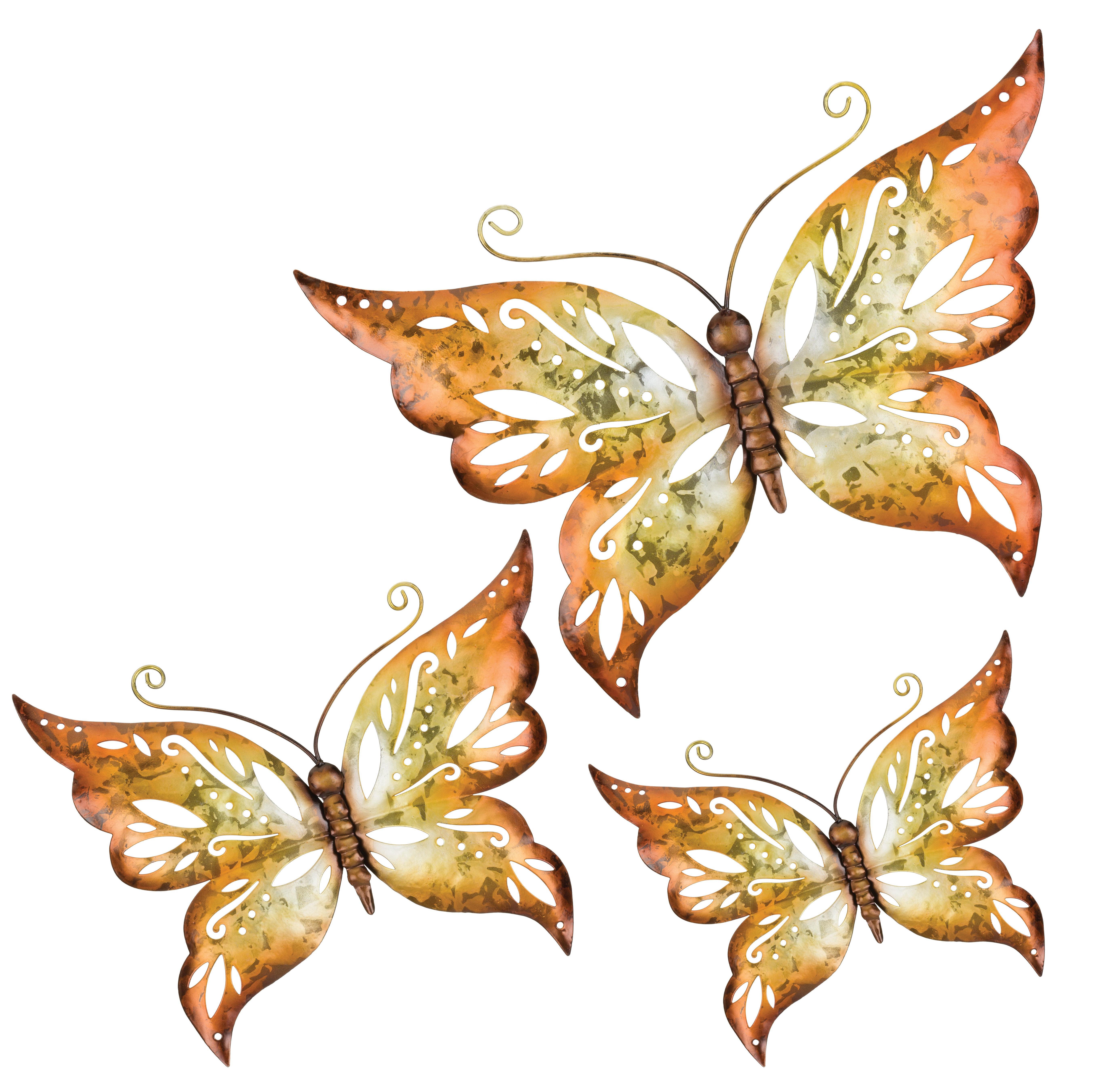 2019 Regal Art & Gift 3 Piece Capri Butterfly Wall Décor Set & Reviews Throughout 3 Piece Capri Butterfly Wall Decor Sets (Gallery 1 of 20)