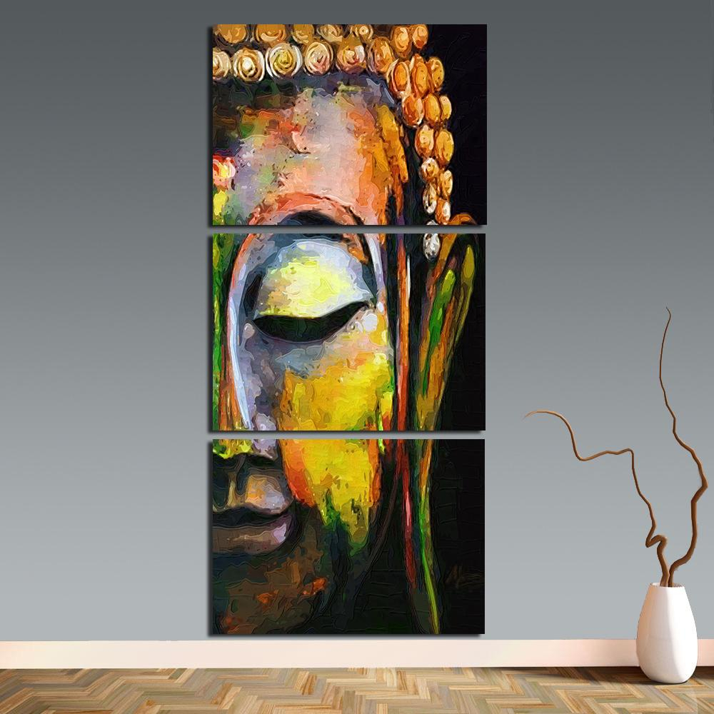 2019 Wall Art 3 Panels Buddha Wall Pictures For Living Room Oil Pertaining To Popular Abstract Bar And Panel Wall Decor (View 1 of 20)