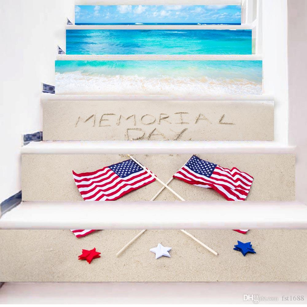 2020 America Flag Beach 3D Stairway Stickers Stairs Stickers Waterproof Regarding American Flag 3D Wall Decor (View 3 of 20)