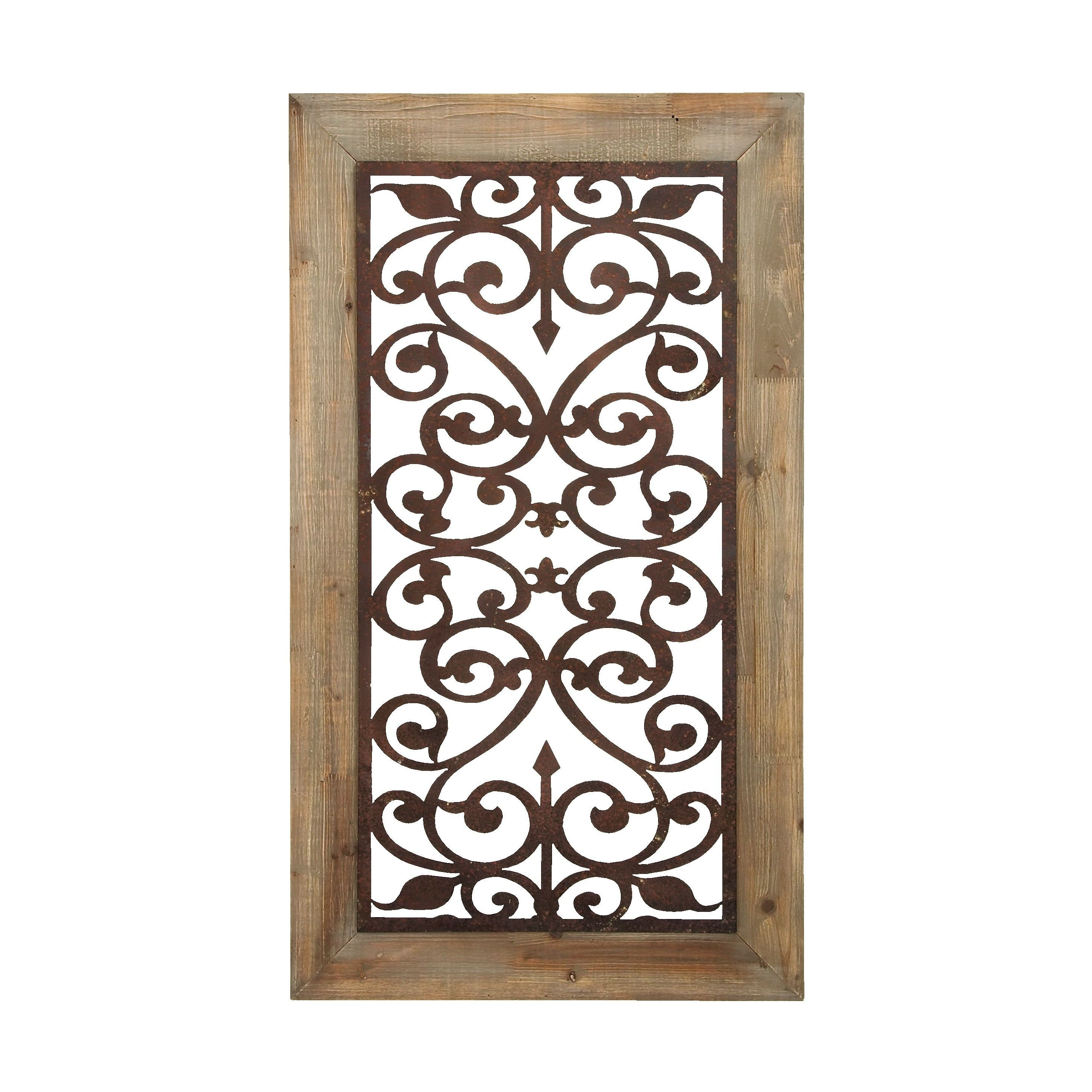 "2020 Brown Wood And Metal Wall Decor Throughout 26"" X 46"" Distressed Wood & Brown Metal Wall Art Panel W/ Scroll (Gallery 16 of 20)"