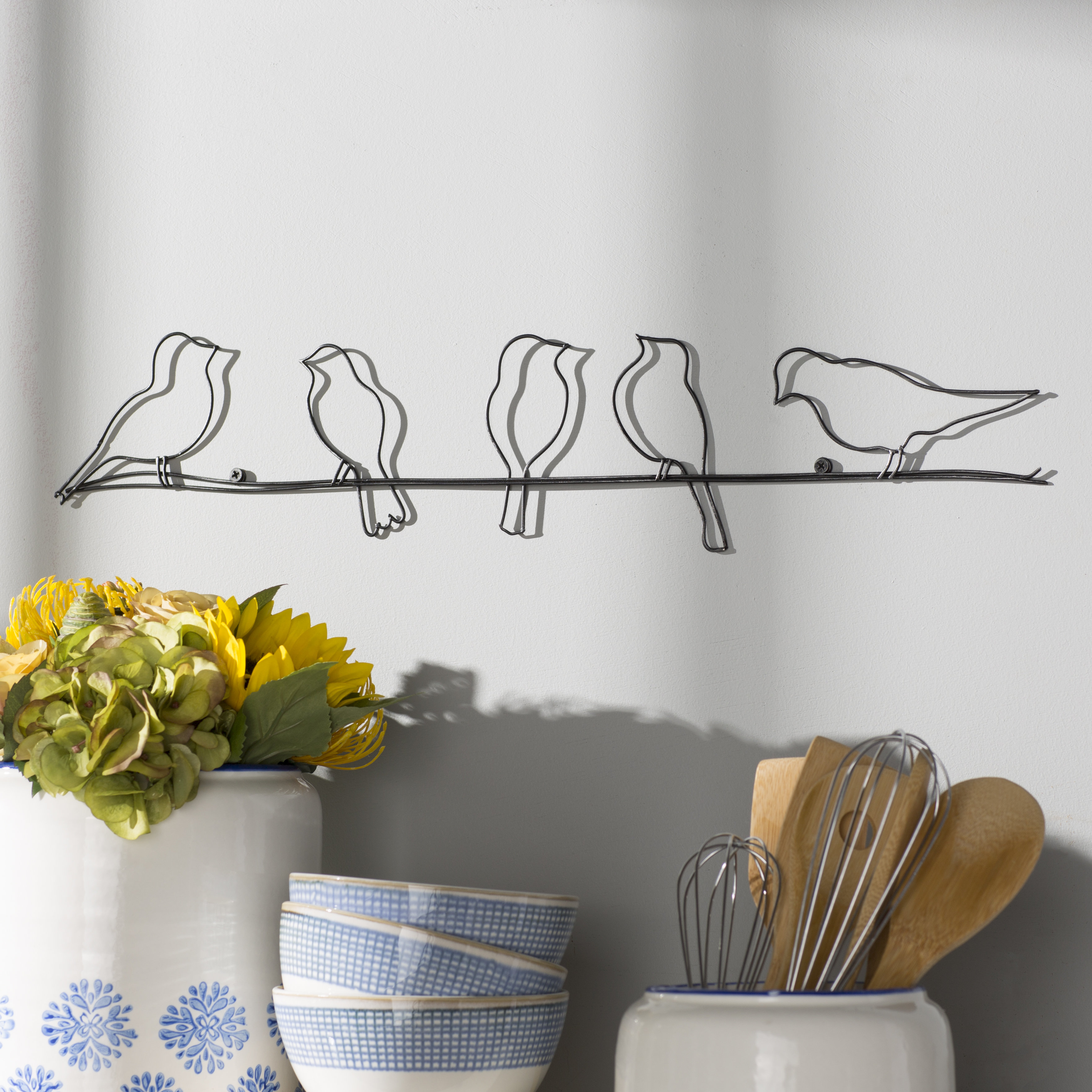 2020 Desford Leaf Wall Decor In Rioux Birds On A Wire Wall Décor & Reviews (View 1 of 20)