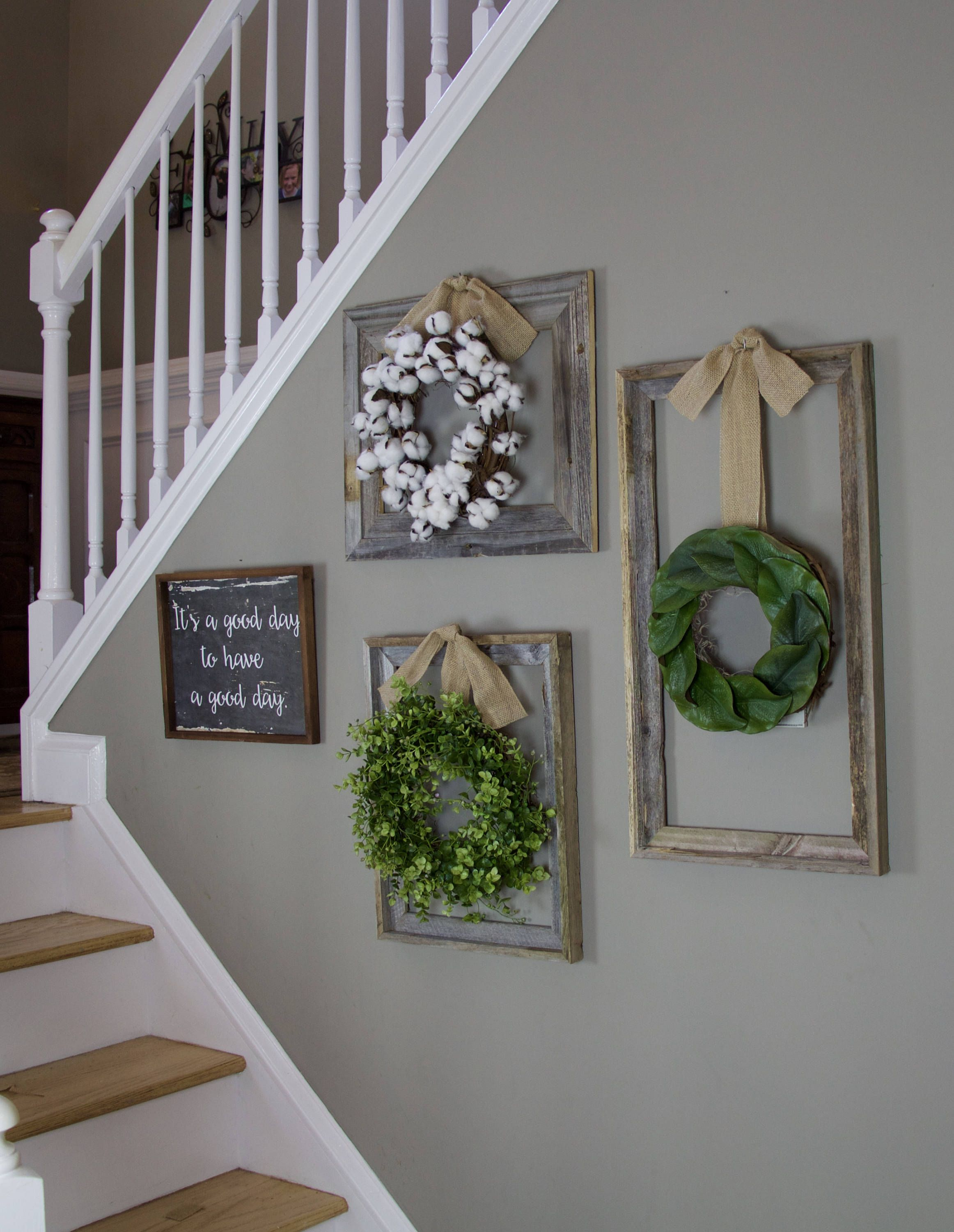 2020 Farmhouse Wreath, Gallery Wall Decor, Rustic Decor, Fixer Upper Regarding Floral Wreath Wood Framed Wall Decor (View 1 of 20)