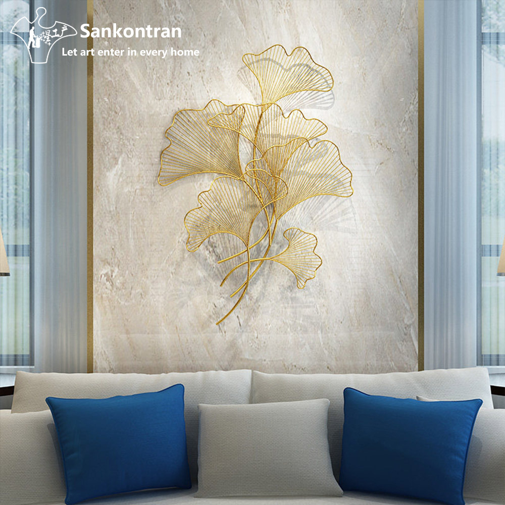 2020 Handmade Asian Metal Wall Decor Golden Gingko Leaf For Living Room Throughout Leaves Metal Sculpture Wall Decor (View 2 of 20)