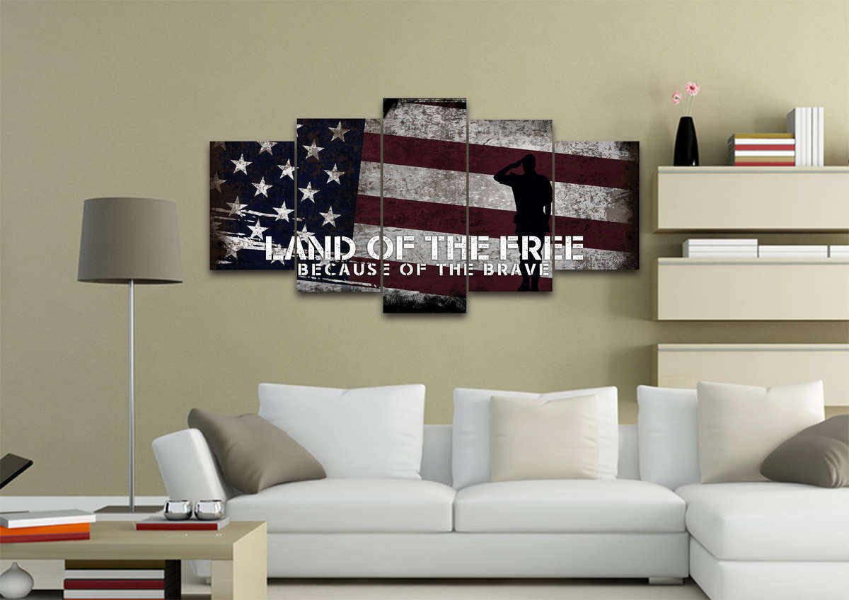 2020 Land Of The Free Because Of The Brave American Flag Wall Art Canvas Within American Pride 3D Wall Decor (View 2 of 20)