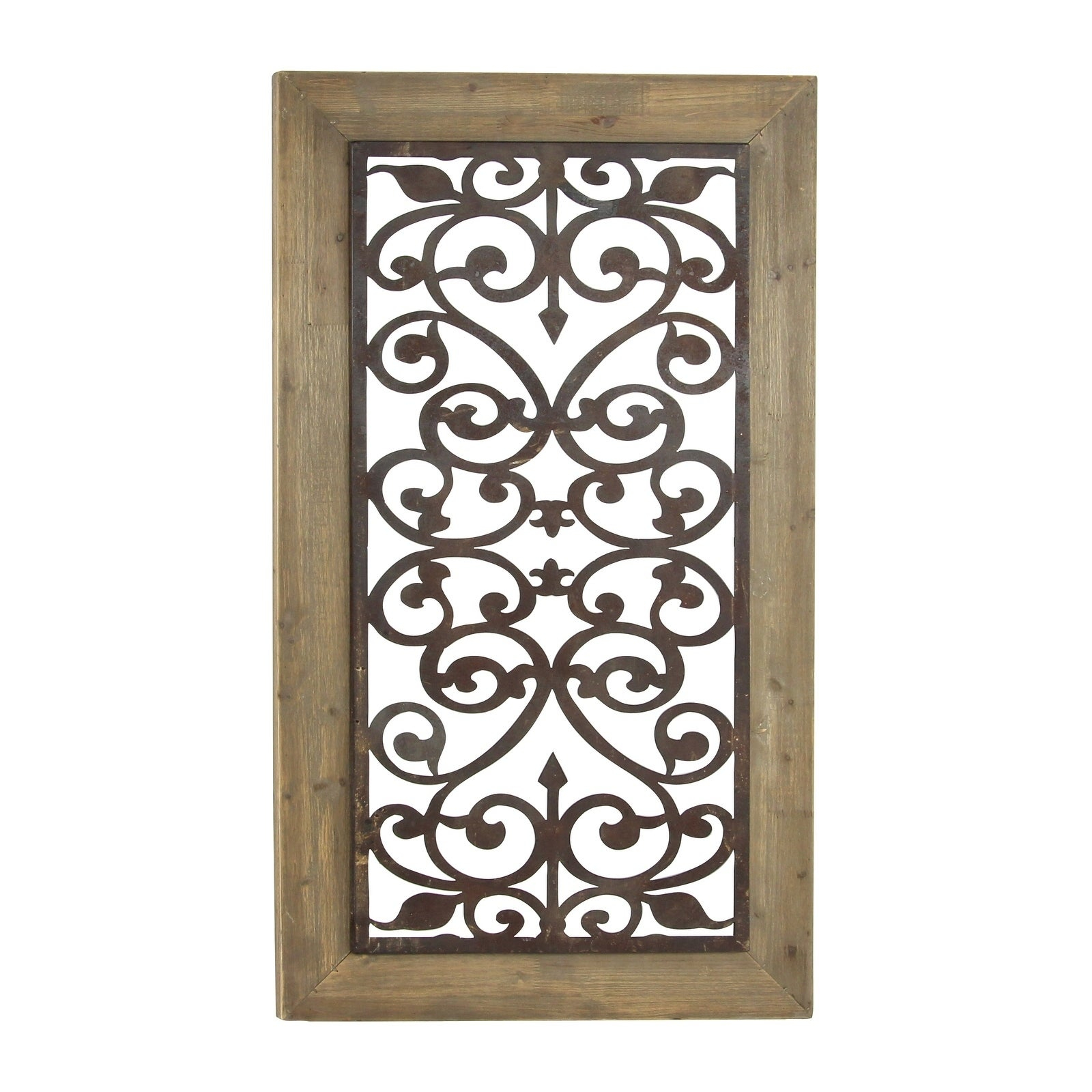 "2020 Shop 26"" X 46"" Distressed Wood & Brown Metal Wall Art Panel W In Scroll Panel Wall Decor (View 17 of 20)"