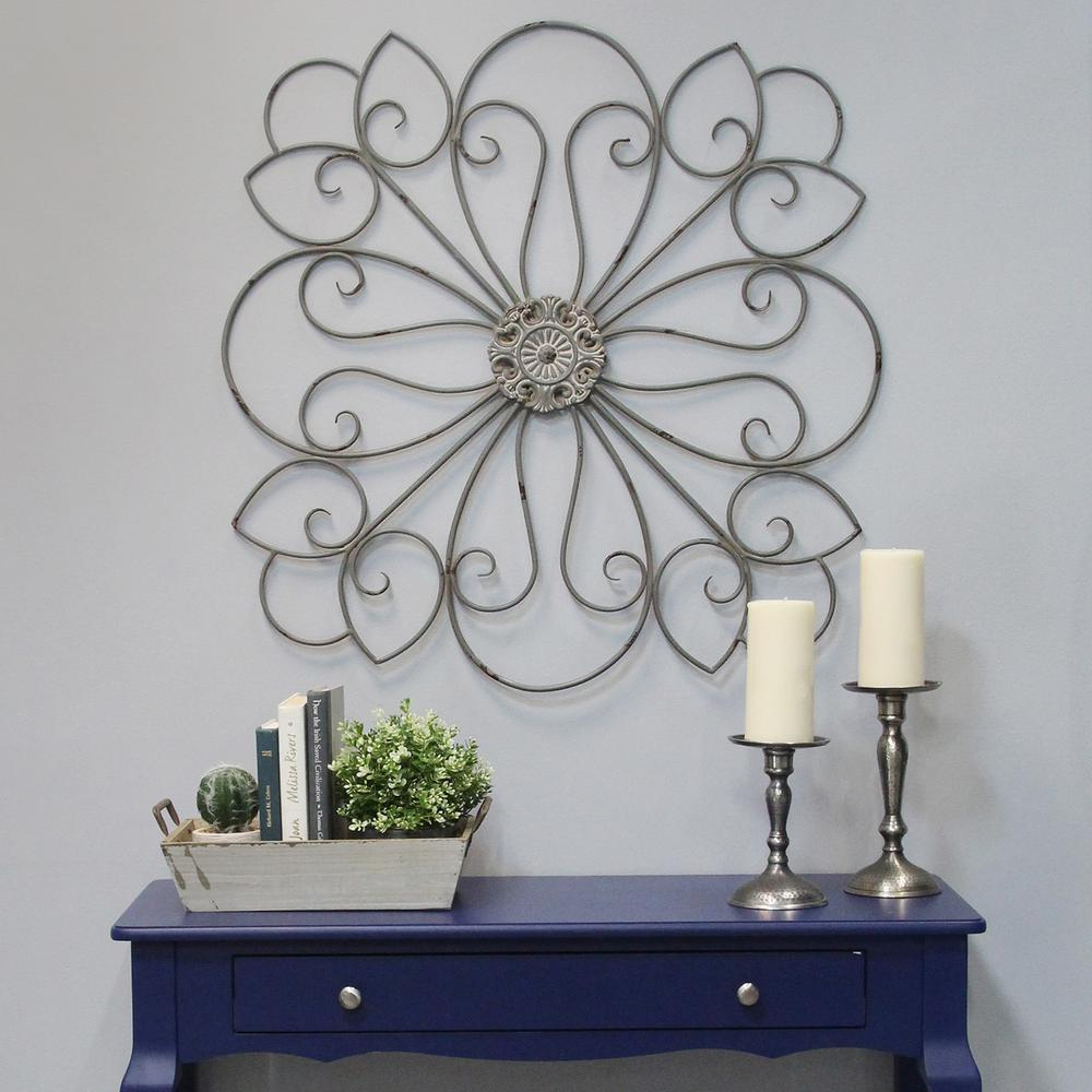 2020 Stratton Home Decor Delicate Metal Scroll Medallion Wall Decor With European Medallion Wall Decor (View 17 of 20)
