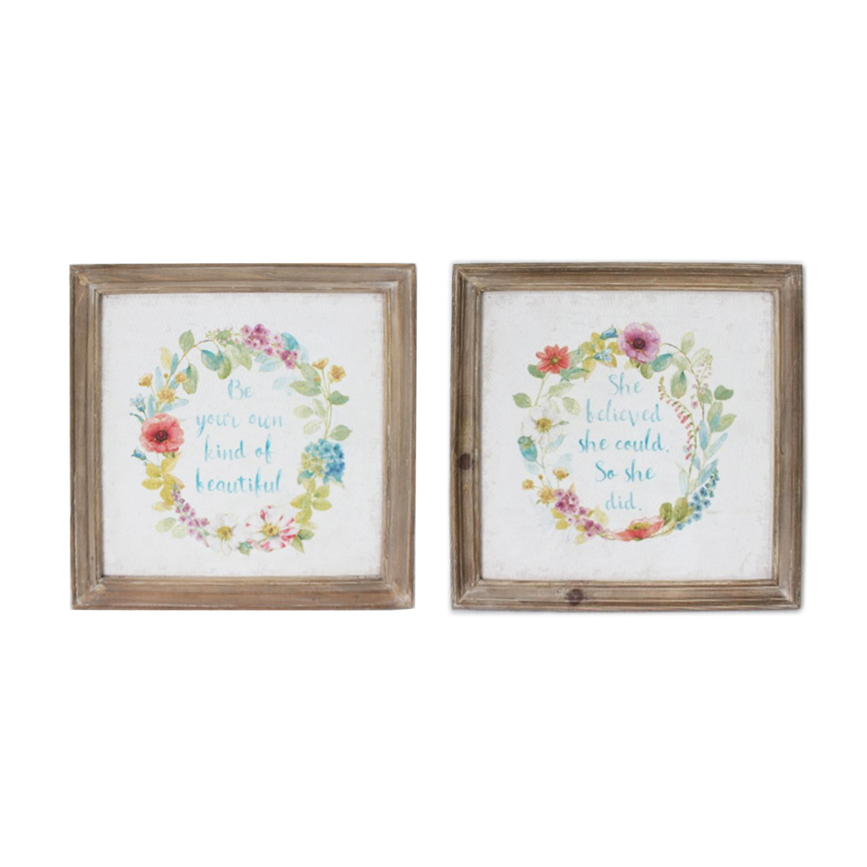 2X Shabby Chic Wooden Framed Floral Wreath Canvas Print Picture Wall Throughout Popular Floral Wreath Wood Framed Wall Decor (View 3 of 20)