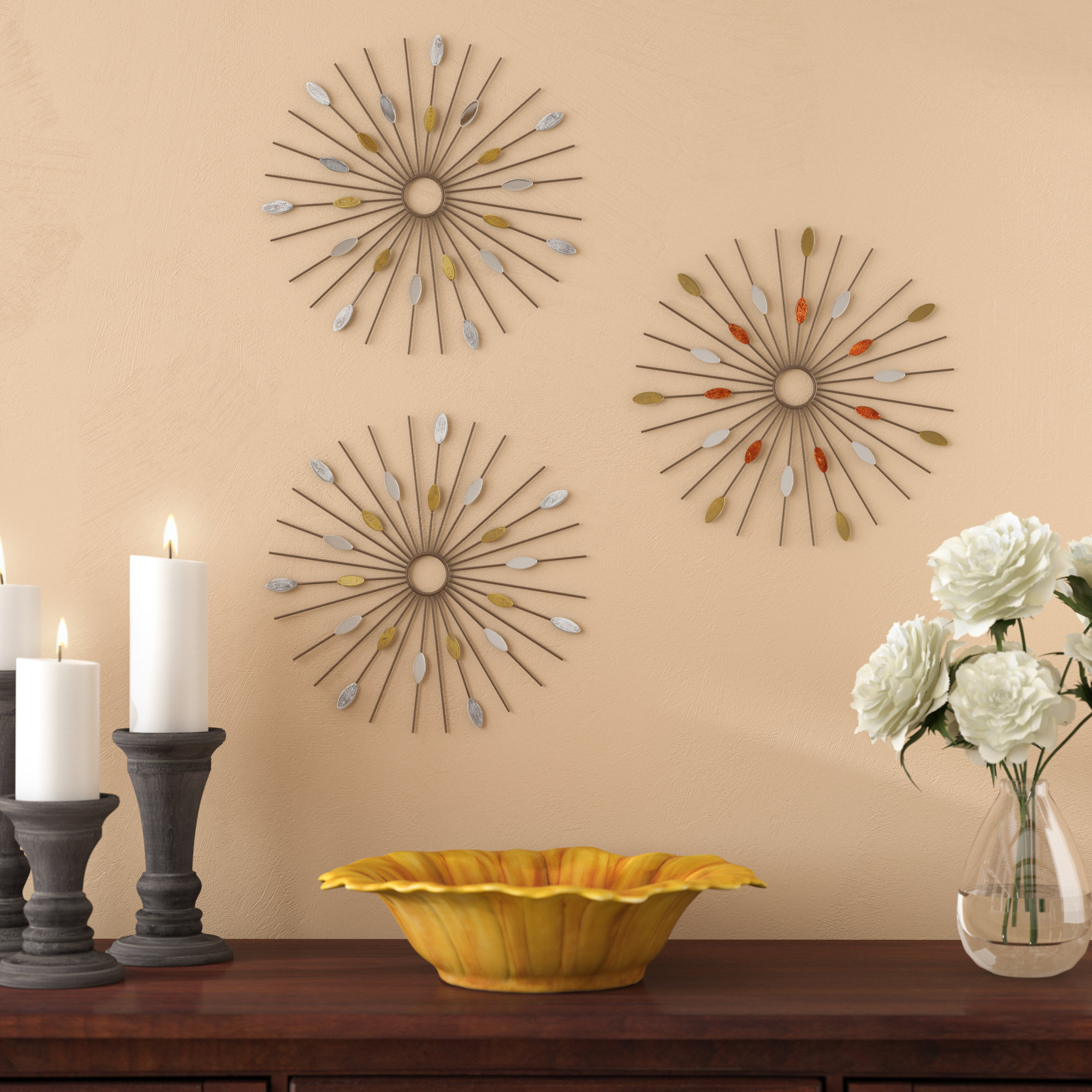 3 Piece Acrylic Burst Wall Decor Sets (Set Of 3) In Most Recent Wrought Studio 3 Piece Wall Décor Set & Reviews (Gallery 7 of 20)