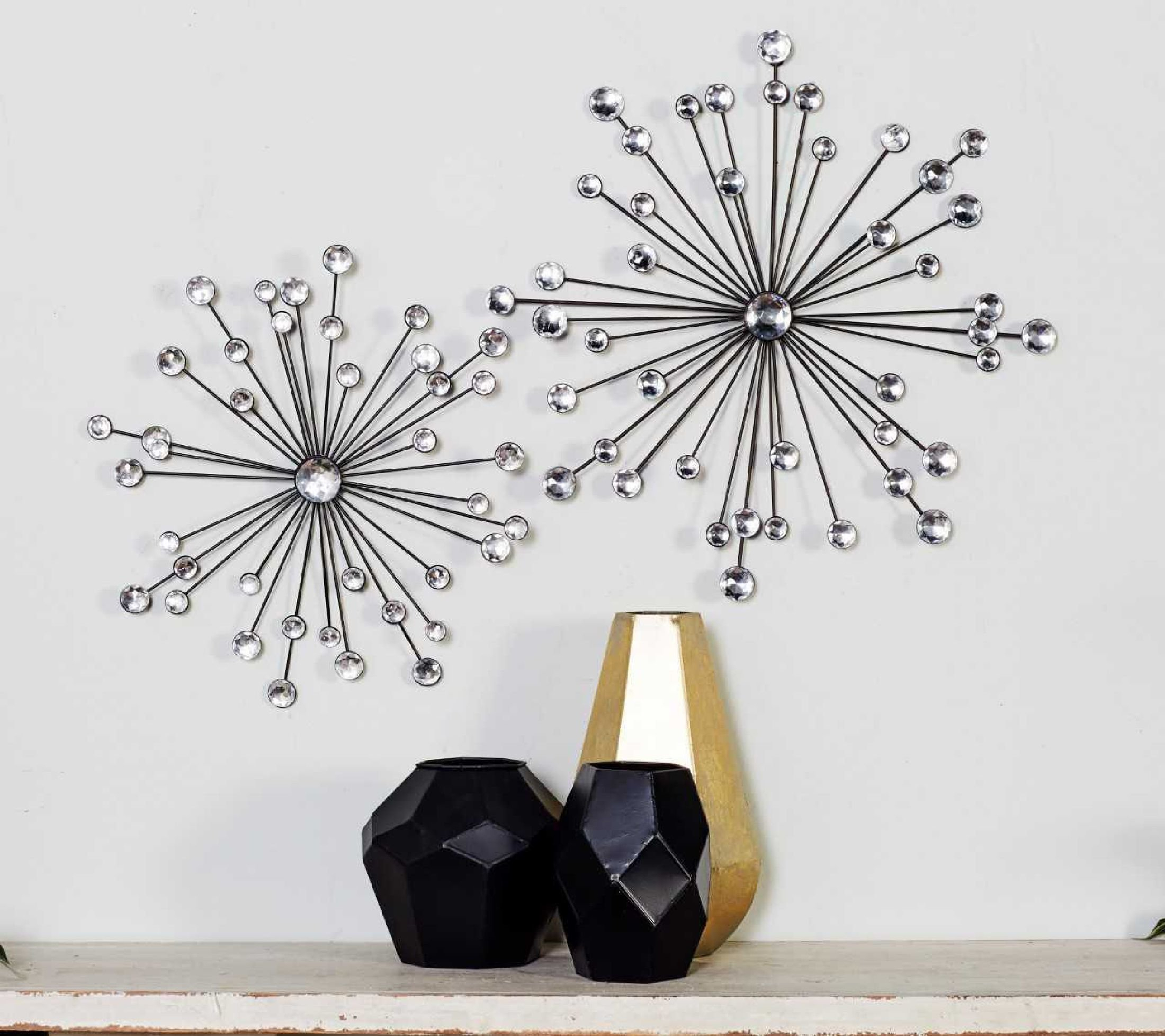 3 Piece Acrylic Burst Wall Decor Sets (Set Of 3) Intended For Most Recent Cole & Grey 3 Piece Metal And Acrylic Wall Décor Set & Reviews (Gallery 1 of 20)